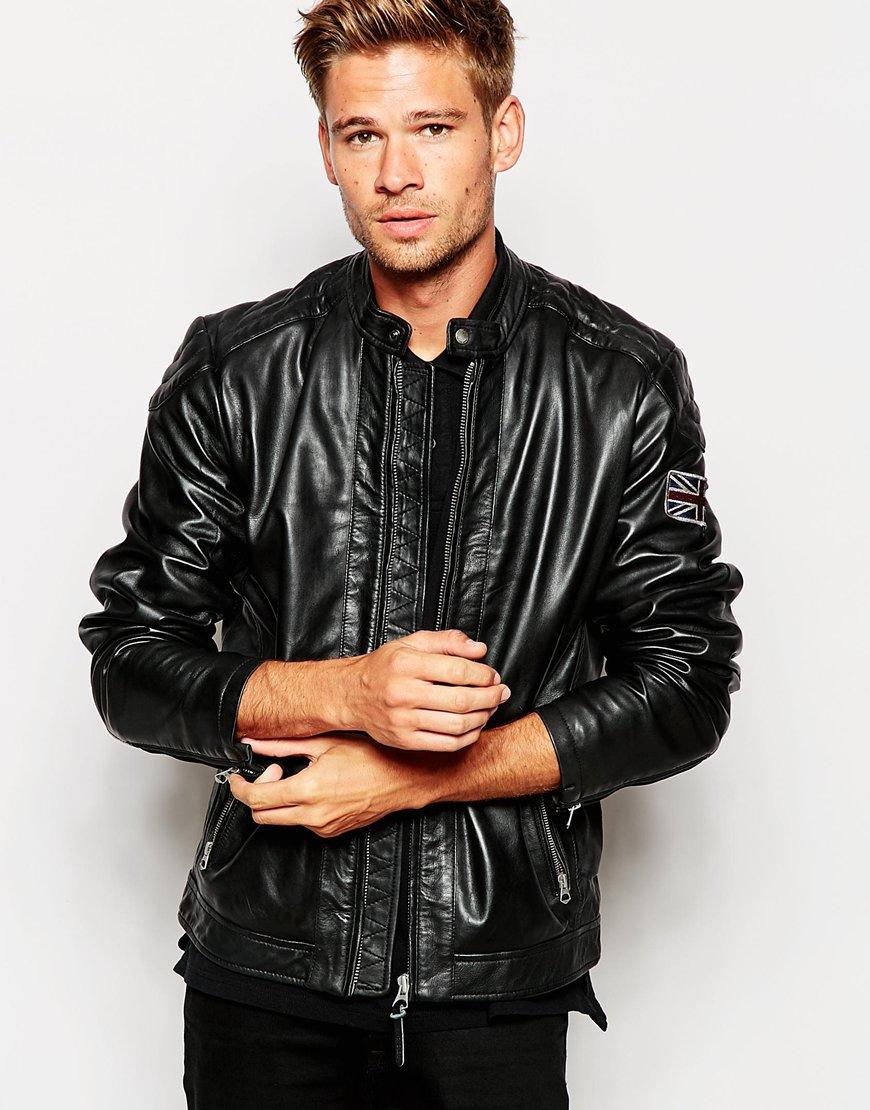 lyst pepe jeans leather jacket lennon in black for men. Black Bedroom Furniture Sets. Home Design Ideas