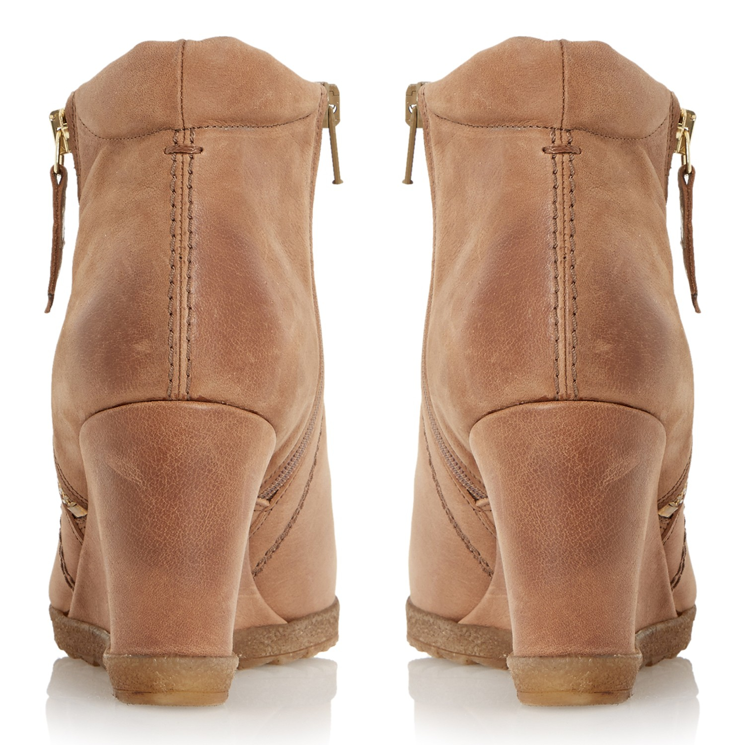 172092184a7 Dune Pacino Side Zip Wedge Ankle Boots in Brown - Lyst