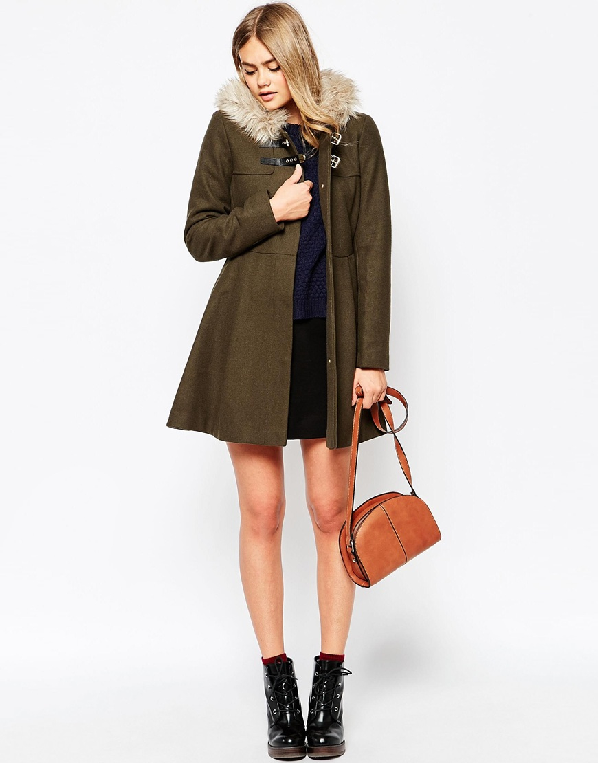 Asos Duffle Coat With Faux Fur Hood in Natural | Lyst