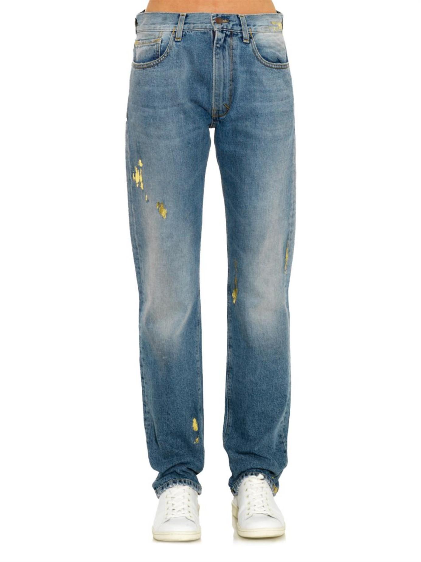 aries metallic foil high rise boyfriend jeans in blue lyst. Black Bedroom Furniture Sets. Home Design Ideas