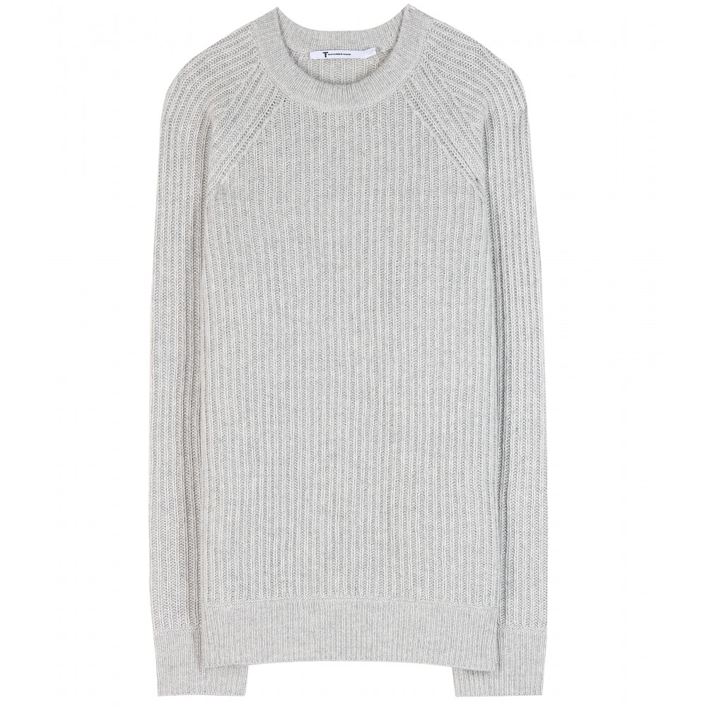 T by alexander wang Wool And Cashmere Sweater in Gray | Lyst