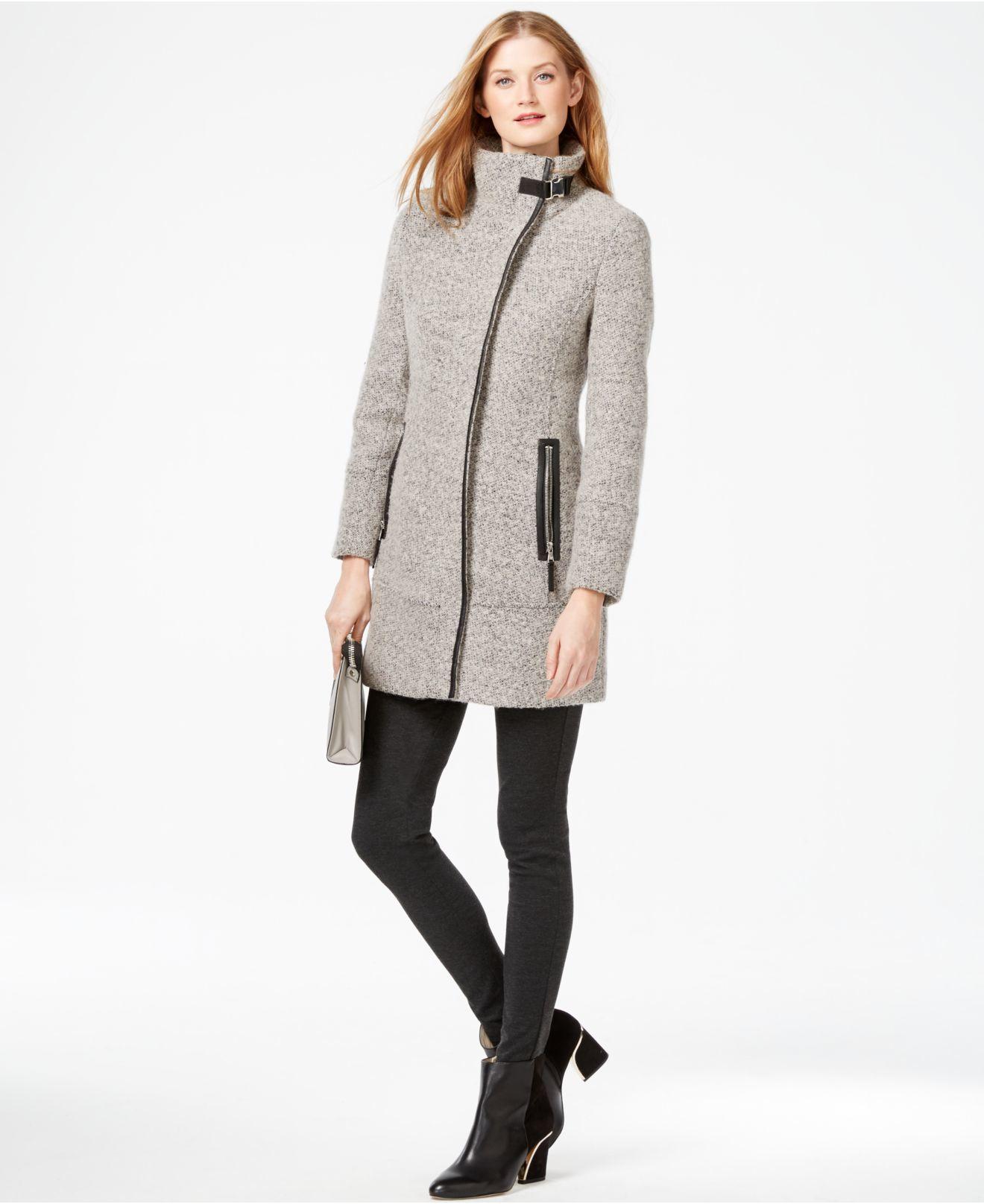 Calvin klein Petite Faux-leather-trim Asymmetrical Tweed Coat in ...