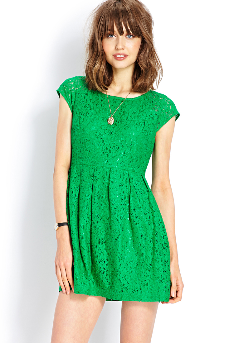 Lyst - Forever 21 Ladylike Lace Dress in Green