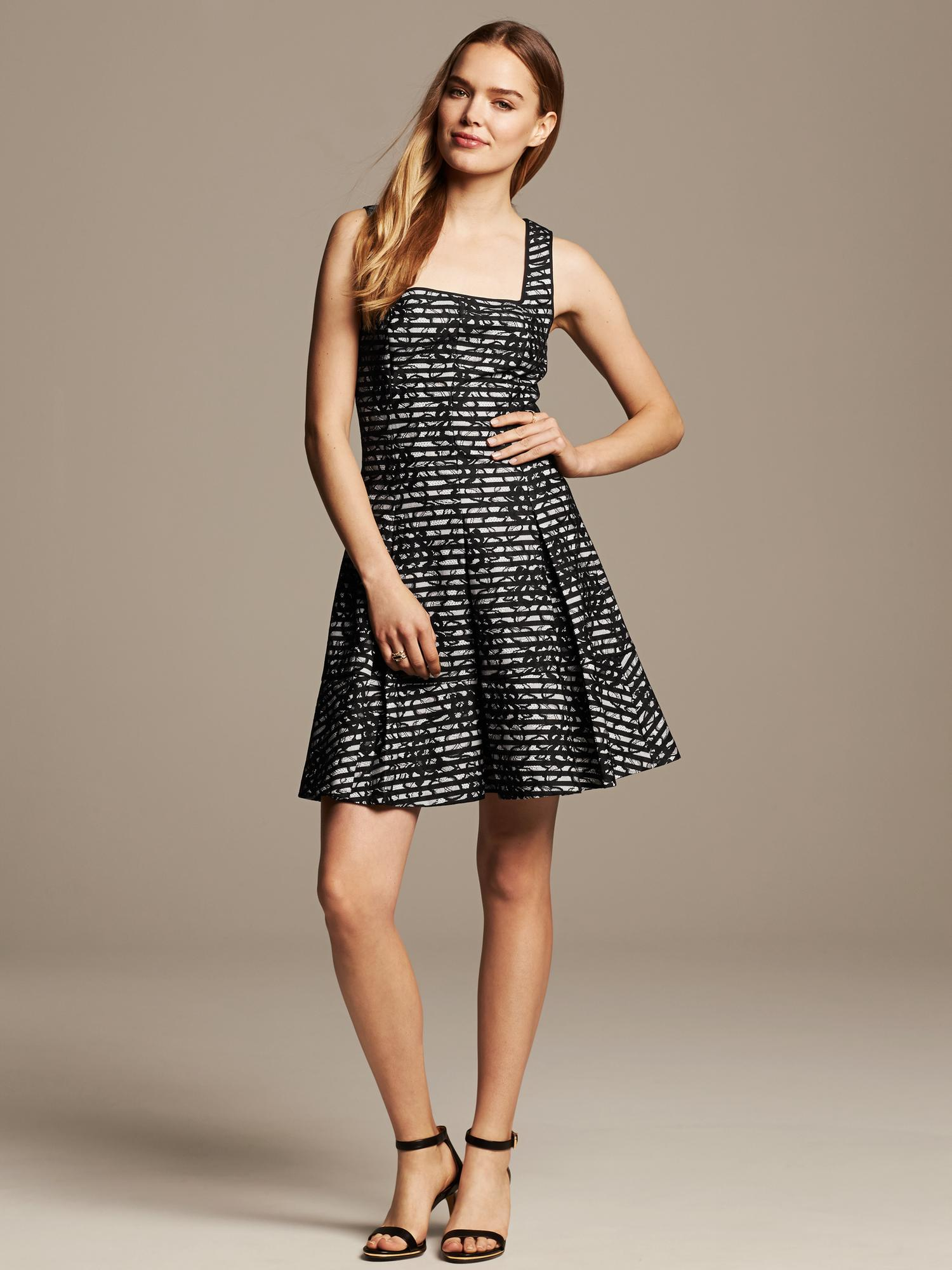 Banana Republic Striped Lace Fit And Flare Dress In Black