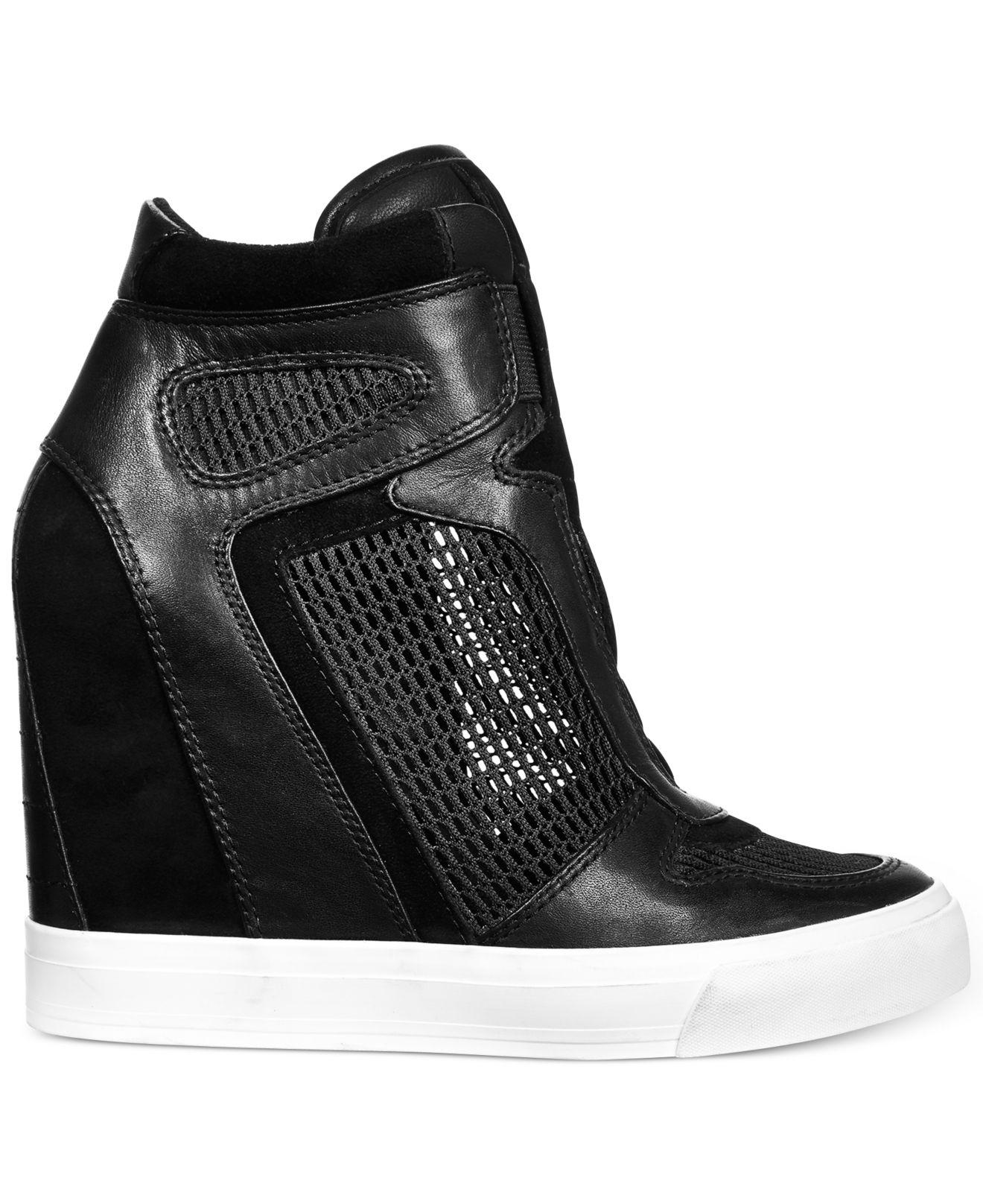 Lyst - DKNY Grand Platform Wedge Sneakers in Black