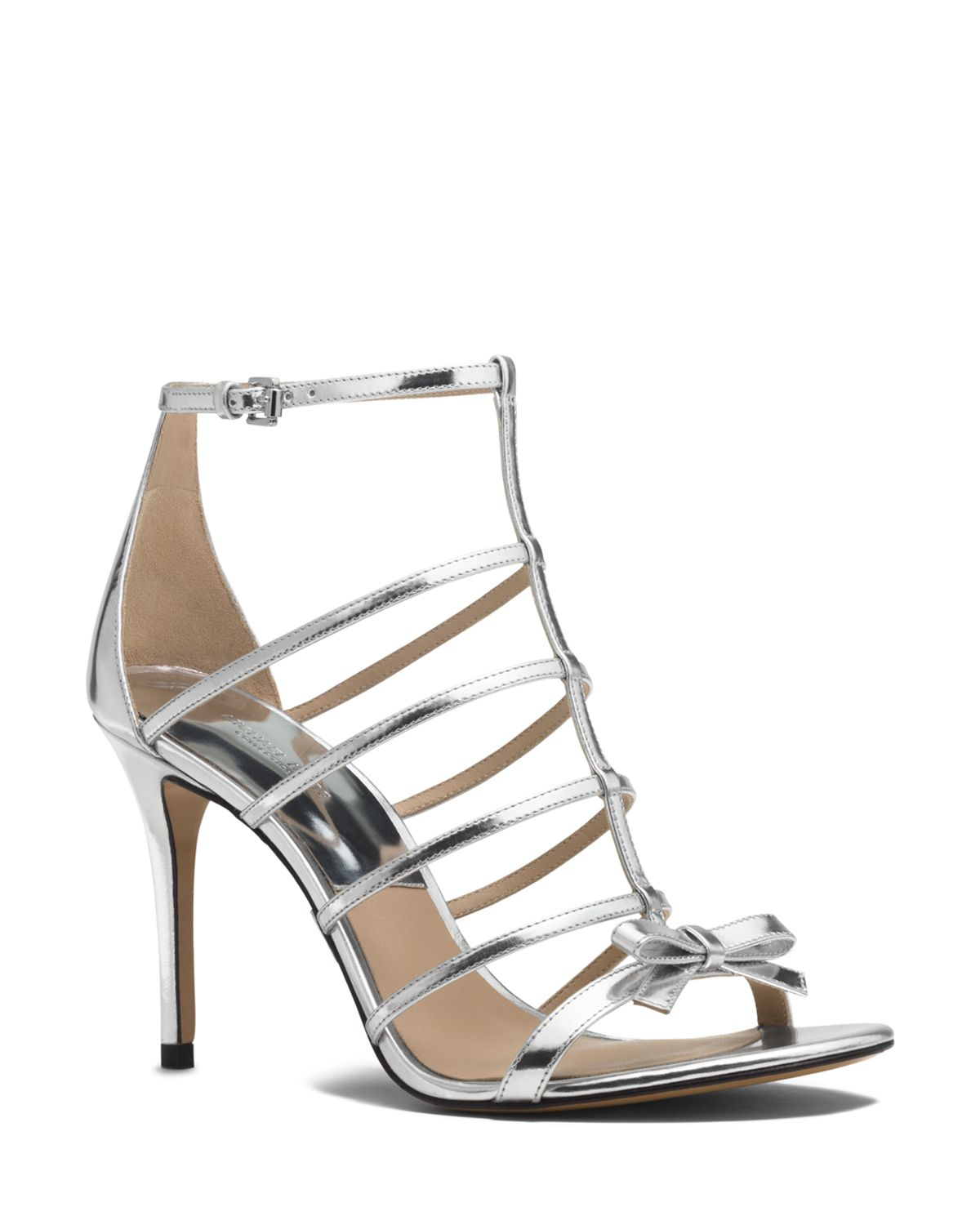 Womens High Heels Michael Kors Ankle Strap Sandals Blythe Caged Patent High Heels Heels 2016 Sale Outlet