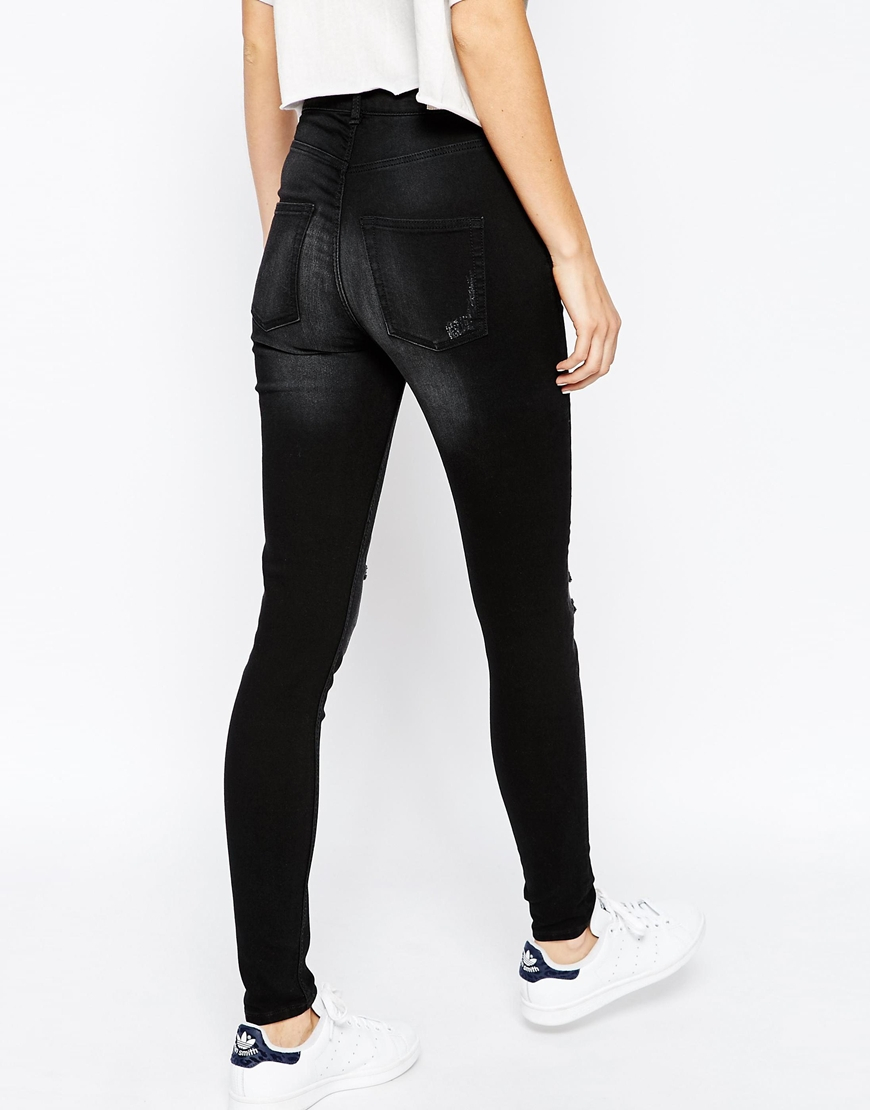 b89175aaf508 Lyst - Cheap Monday High Spray Skinny Jeans With Distressing - Black ...
