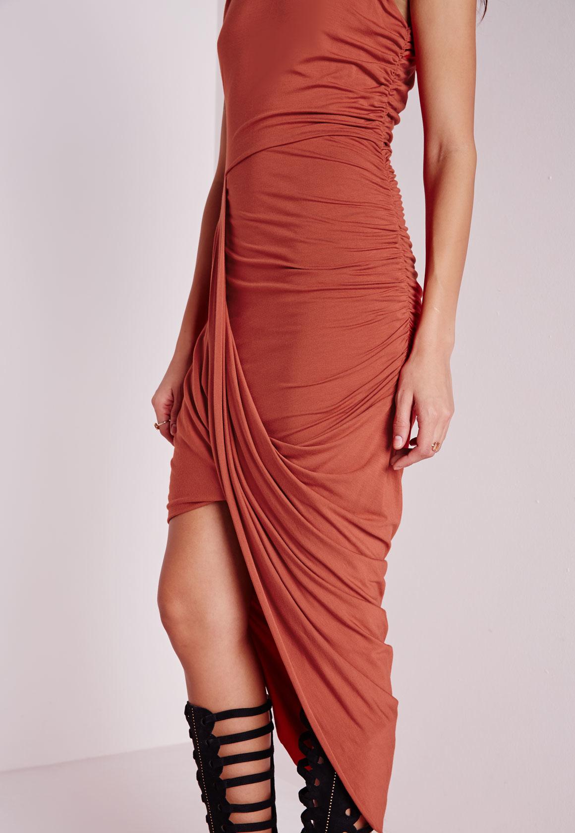 Missguided Jersey Wrap Skirt Midi Dress Rust In Orange Lyst
