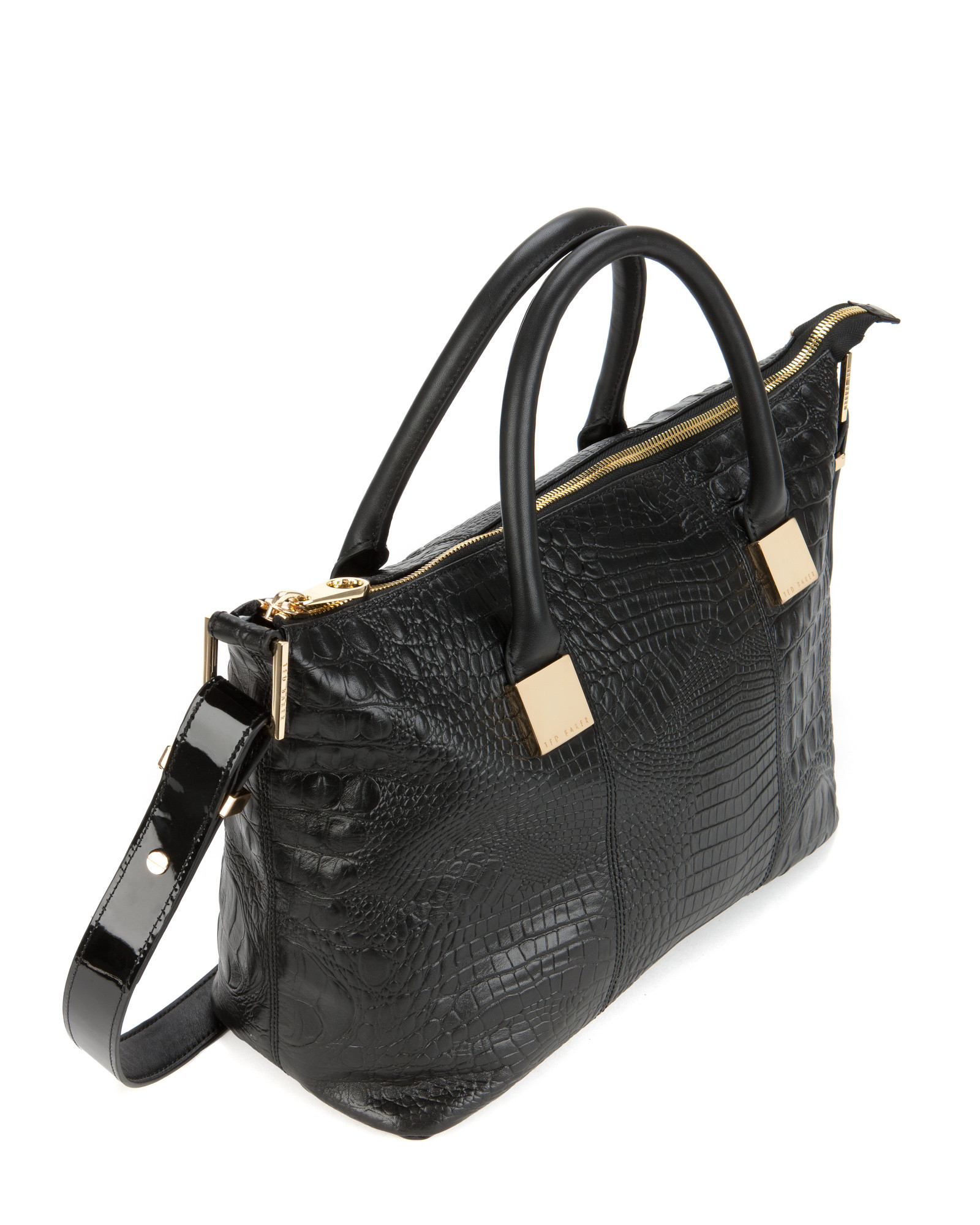 ed7a87d50b0 Ted Baker Crocer Exotic Leather Tote Bag in Black - Lyst
