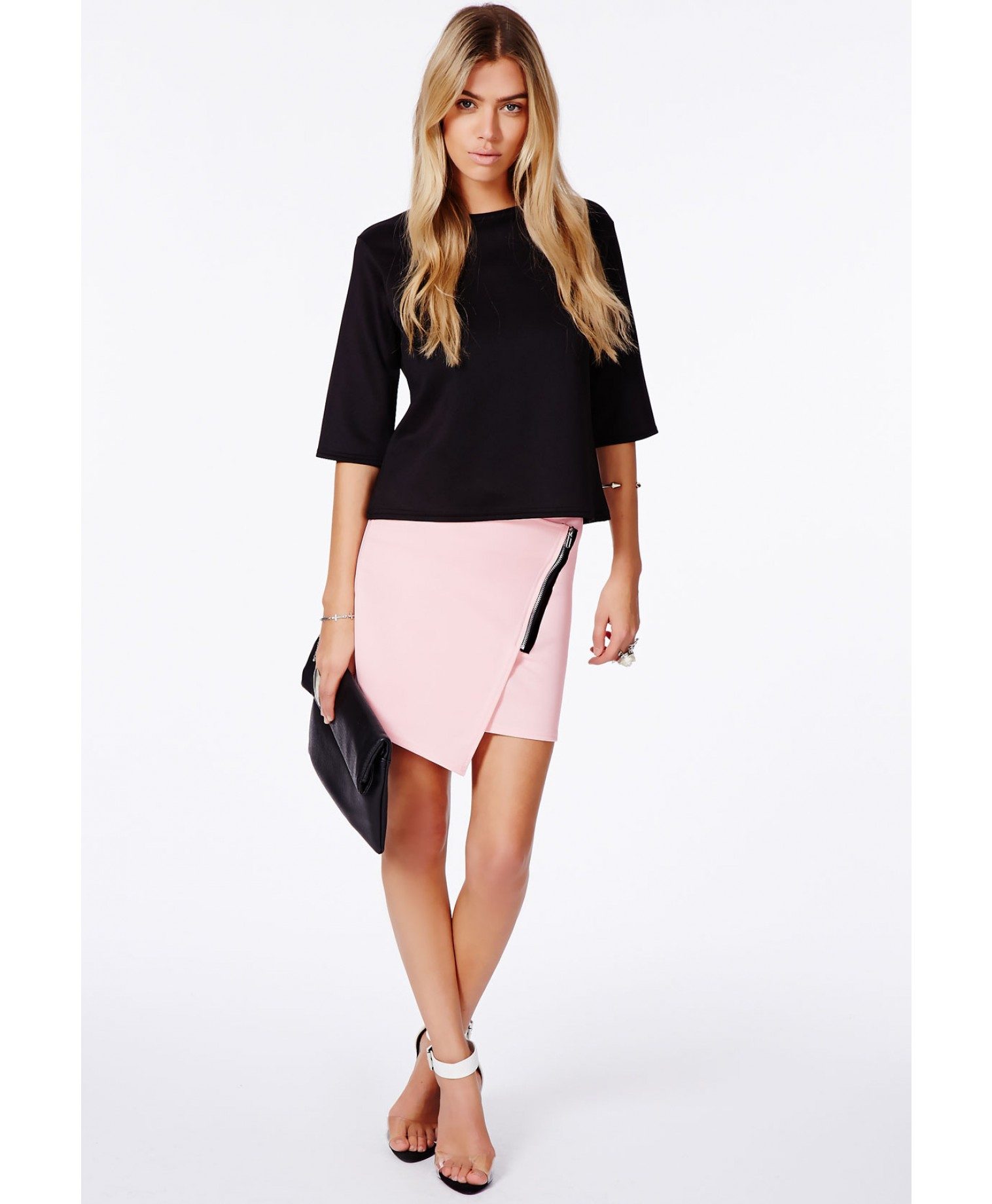 Missguided Ernestina Wrap Over Mini Skirt with Zip Detail in Pink ...