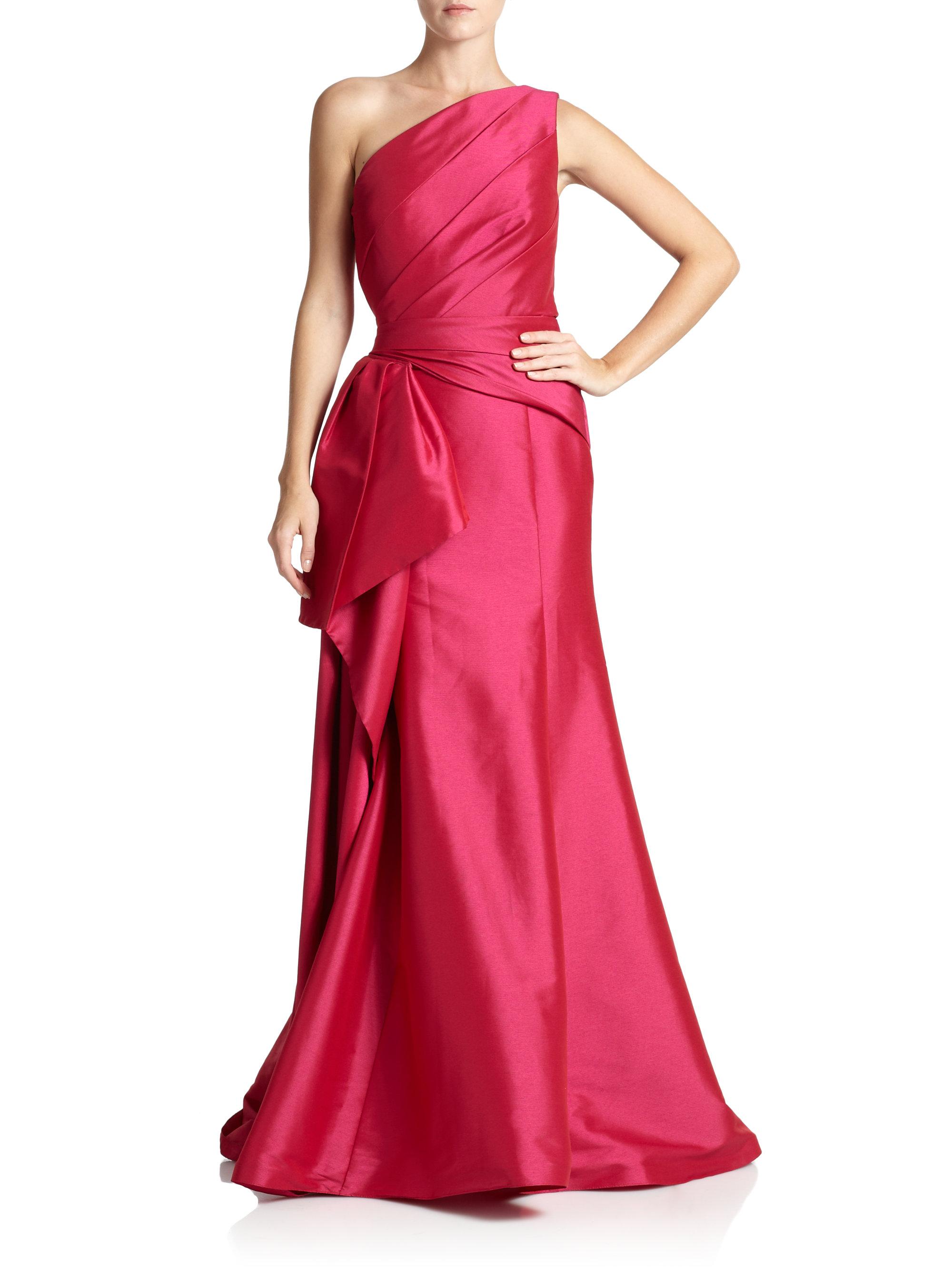 Lyst - Ml Monique Lhuillier Faille Satin One-Shoulder Gown in Pink