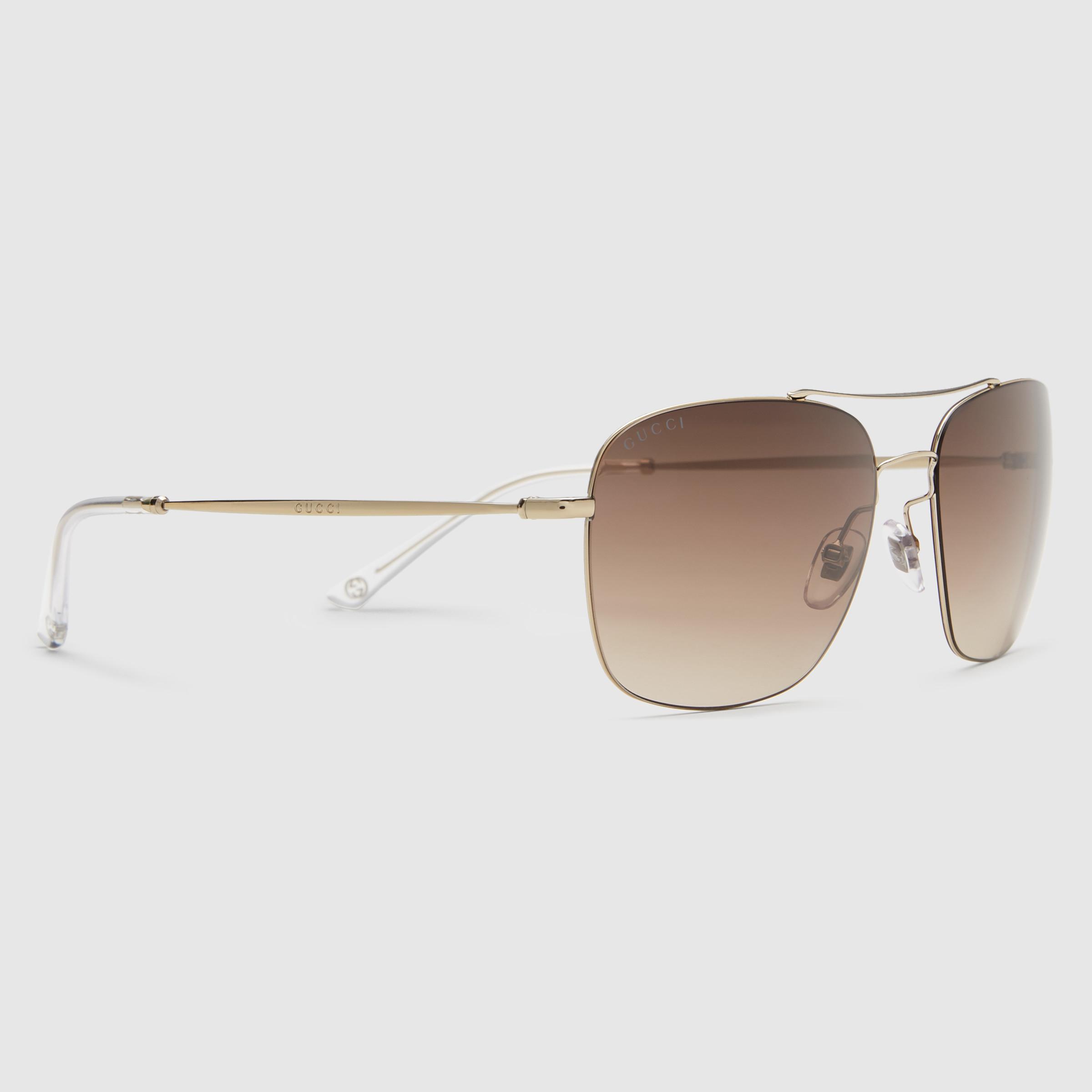 Lyst Gucci Steel Square Frame Sunglasses In Metallic For Men