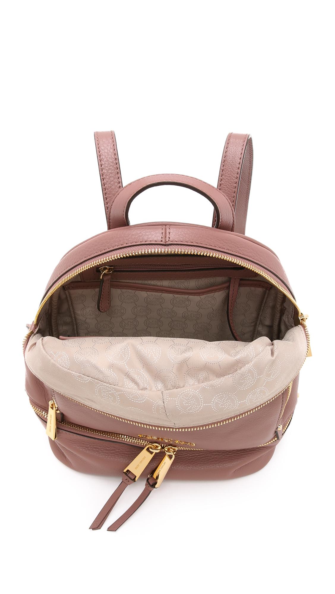 michael michael kors rhea backpack navy in pink lyst. Black Bedroom Furniture Sets. Home Design Ideas