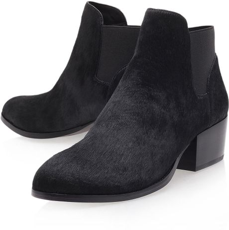 topshop low heel leather ankle boots in black lyst