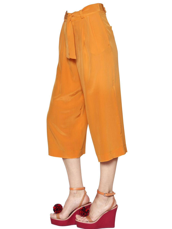 Annie P Silk Crepe Capri Pants In Orange Lyst