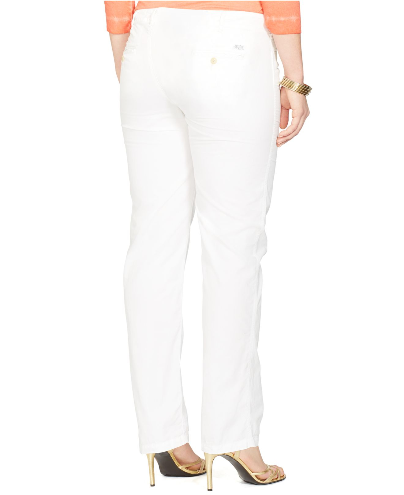 d17d0d74290 Lyst - Lauren by Ralph Lauren Plus Size Rolled-Cuff Chino Pants in White