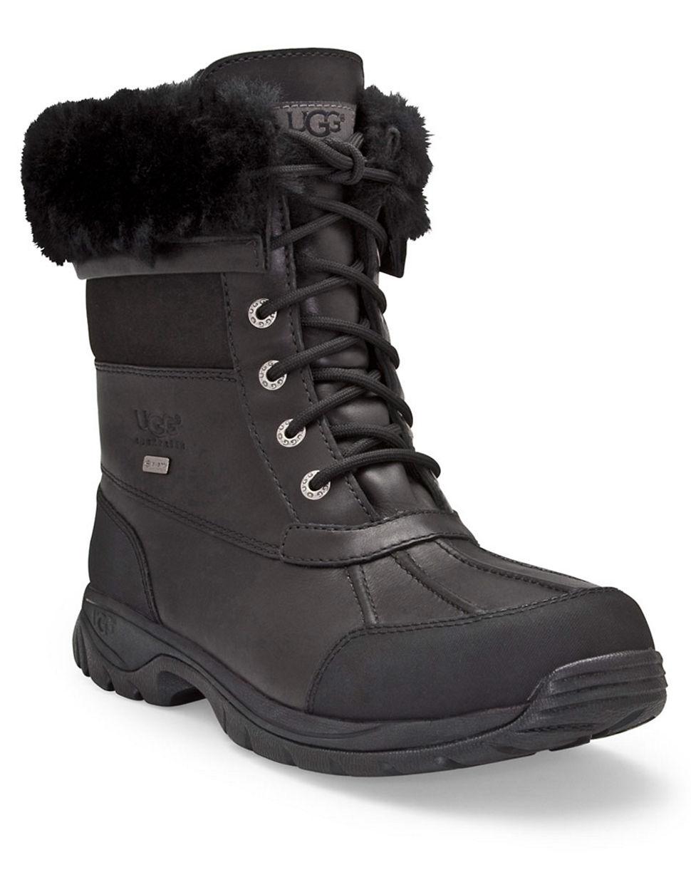 Ugg Mens Butte Sheepskin Leather Boots in Black for Men | Lyst