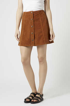 Topshop Tall Cord Button Front A-line Skirt in Brown | Lyst