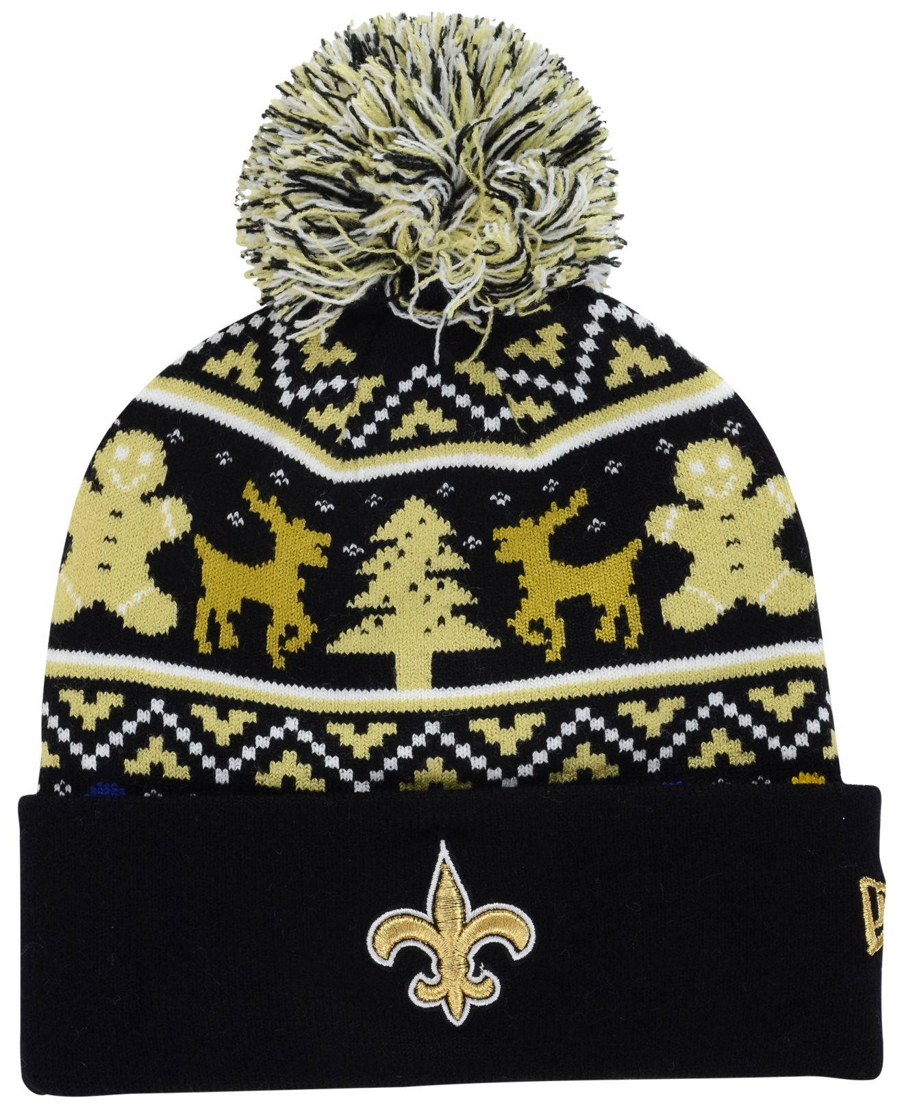 half off eaeb9 d63dc KTZ New Orleans Saints Christmas Sweater Pom Knit Hat in Yellow for ...