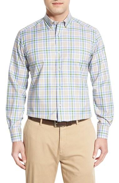 David Donahue Regular Fit Plaid Sport Shirt In Green For