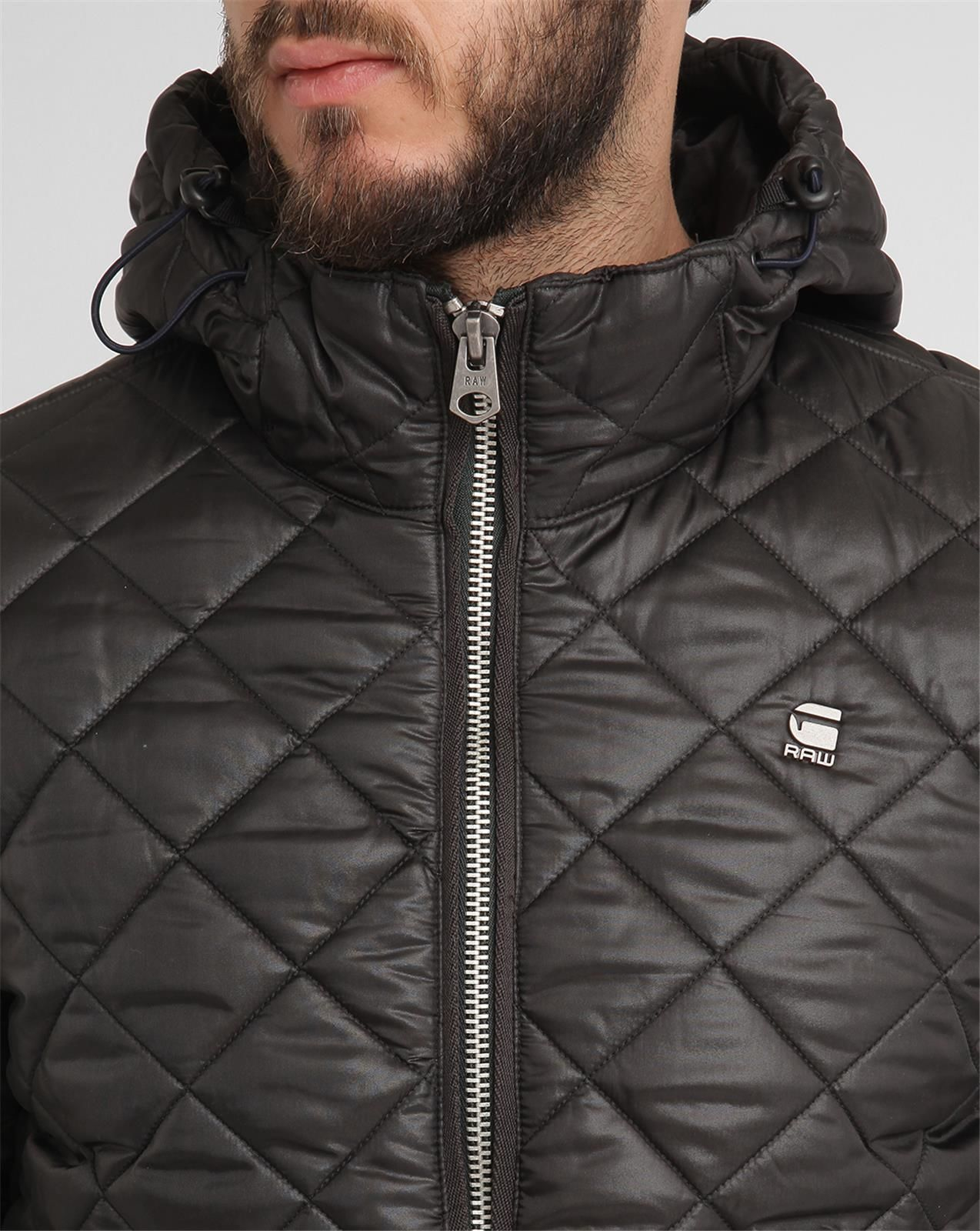 g star raw black meefic quilted hhd hooded down jacket in black for men lyst. Black Bedroom Furniture Sets. Home Design Ideas