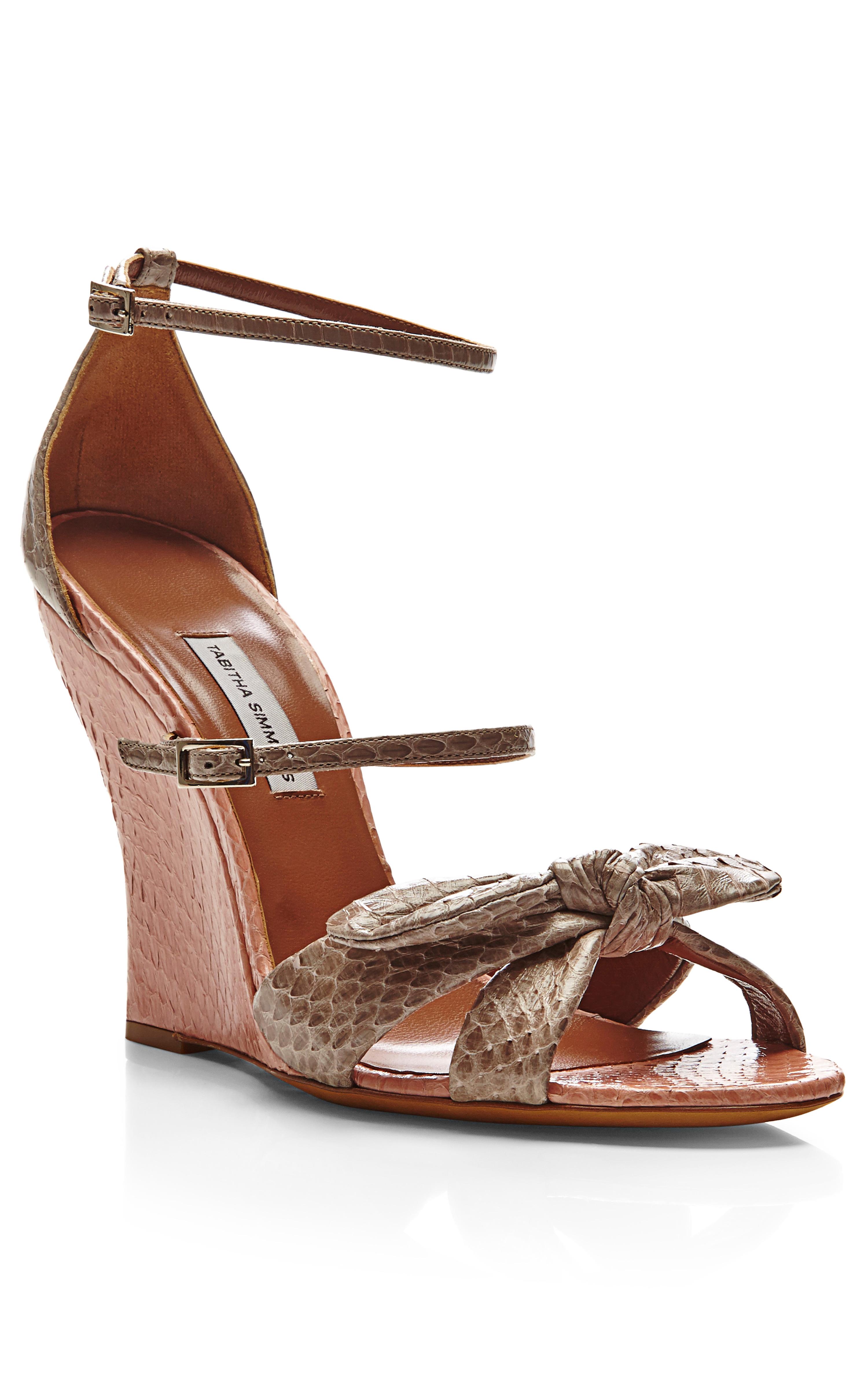 simmons clara snakeskin wedge sandals in lyst