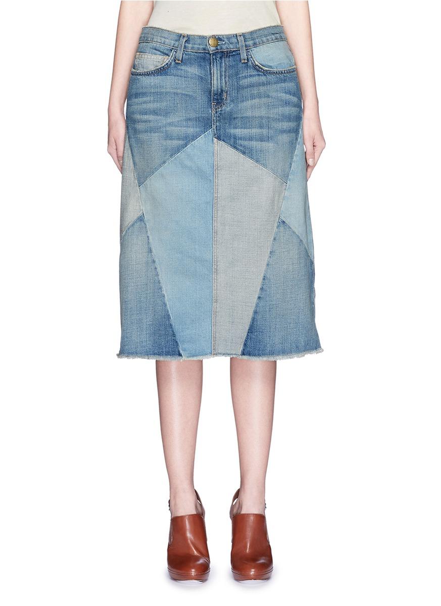 Current/elliott u0026#39;the Patchwork Skirtu0026#39; Denim Skirt in Blue | Lyst