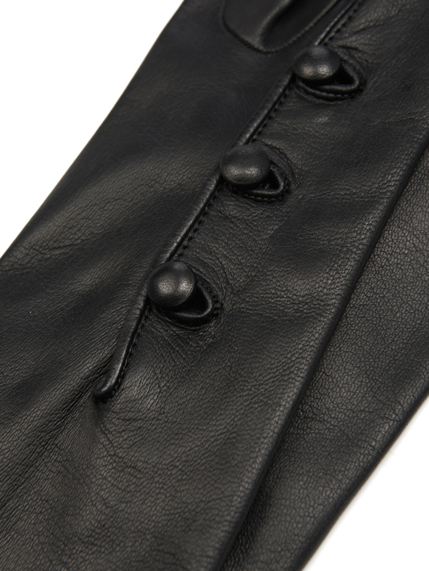 Black leather gloves buttons - Gallery