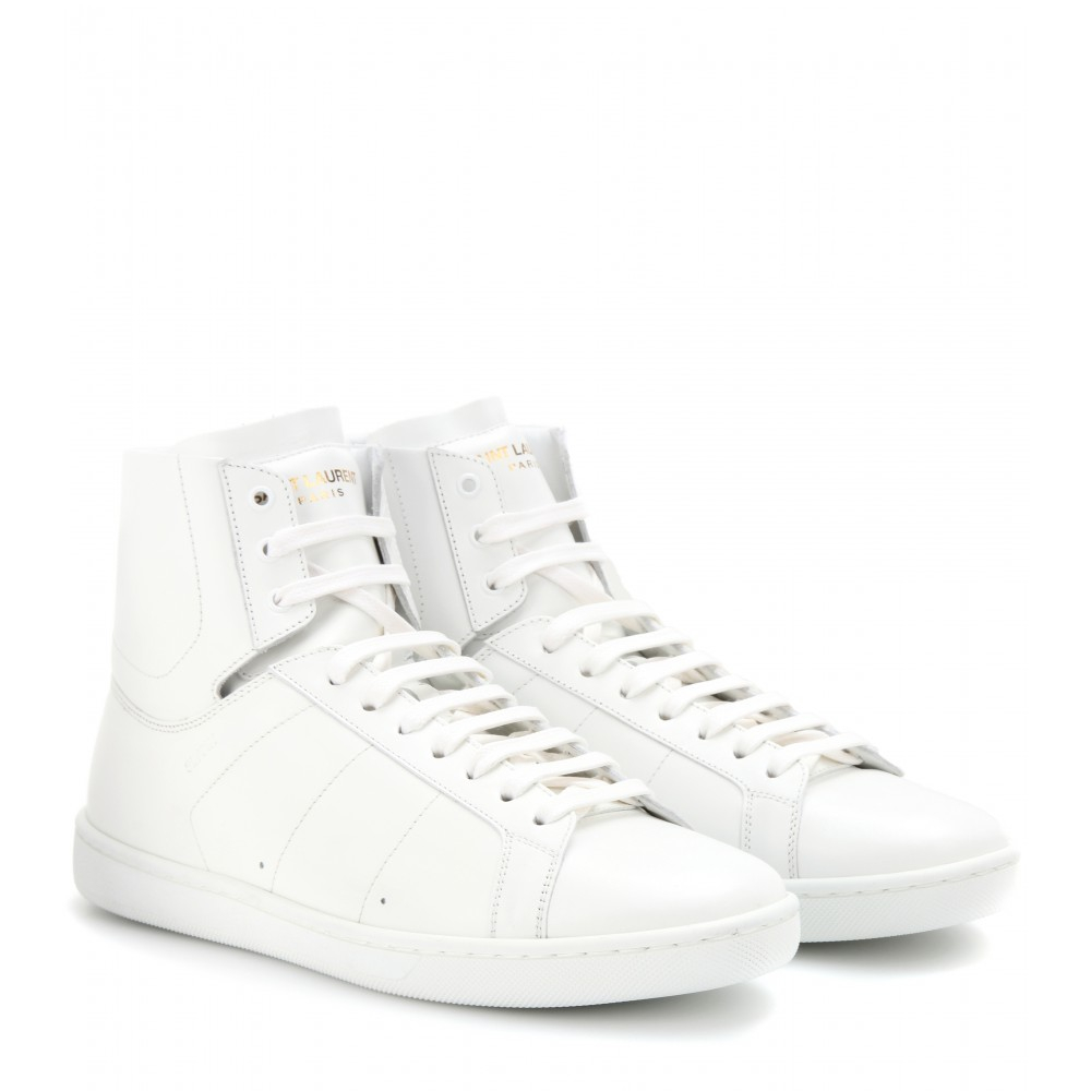 laurent court classic leather high top sneakers in