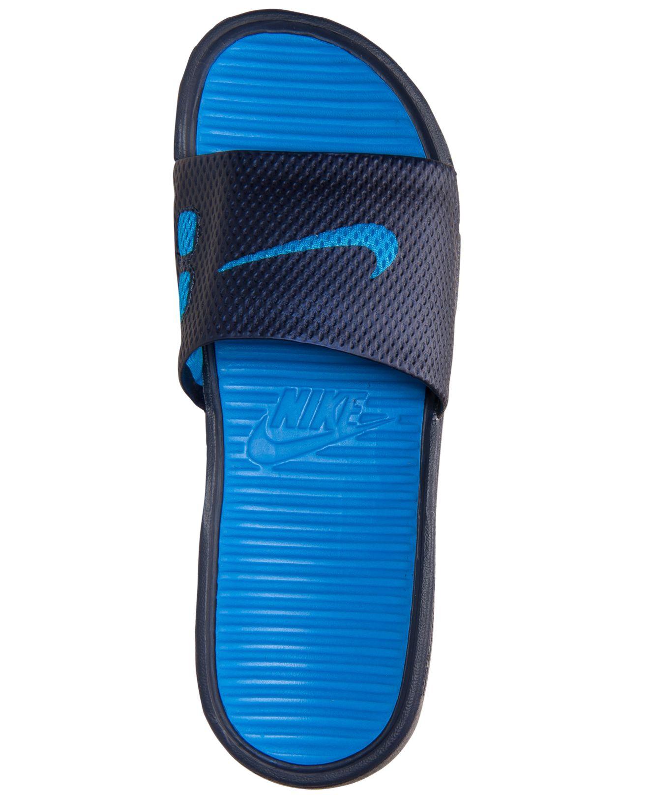 9cb87d04 Nike Men'S Benassi Solarsoft Slide Sandals From Finish Line in Blue ...