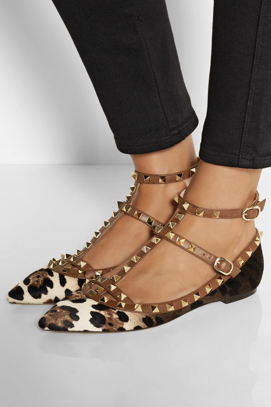 Lyst Valentino Rockstud Leather And Leopard Print Calf