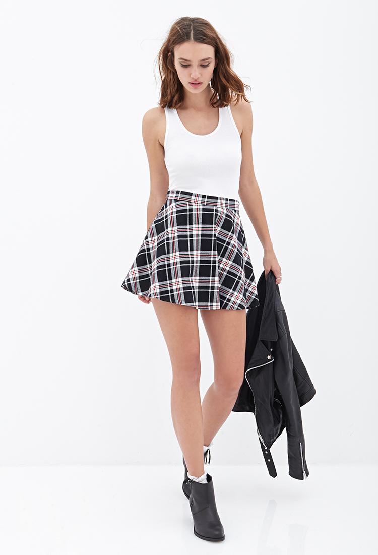 Black And White Checkered Skater Skirt - Dress Ala