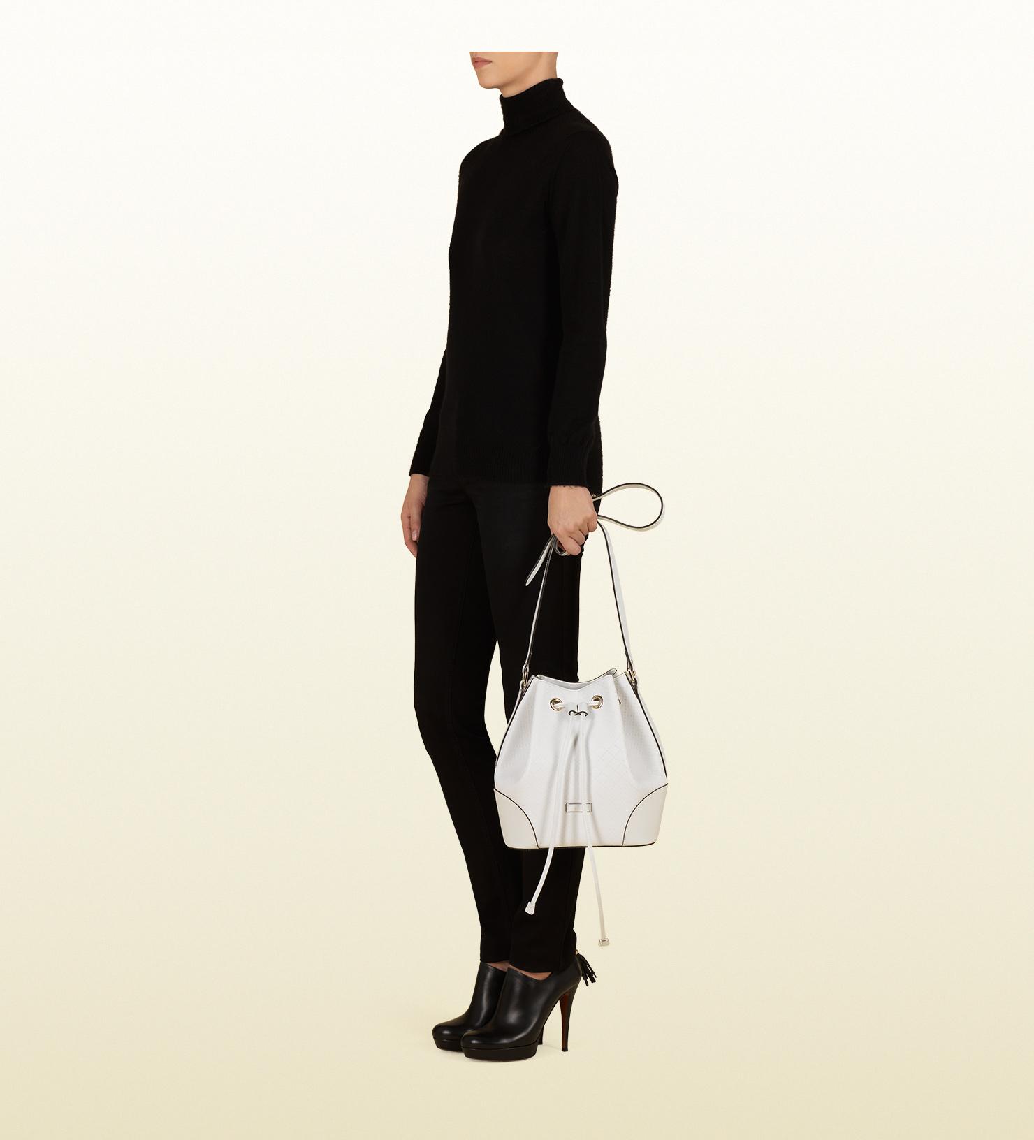 b9c90ea02898 Gucci Bright Diamante Leather Bucket Bag in White - Lyst