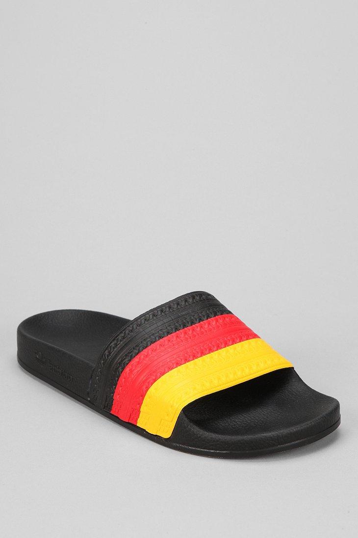 65656a07e ... originals adilette brazil flag slides f40ce c7572  official store lyst adidas  adilette flag slideon sandal in black for men 60c50 11830