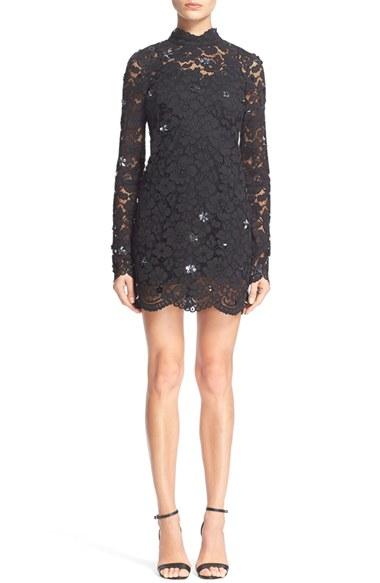 Black lace mock turtleneck dress