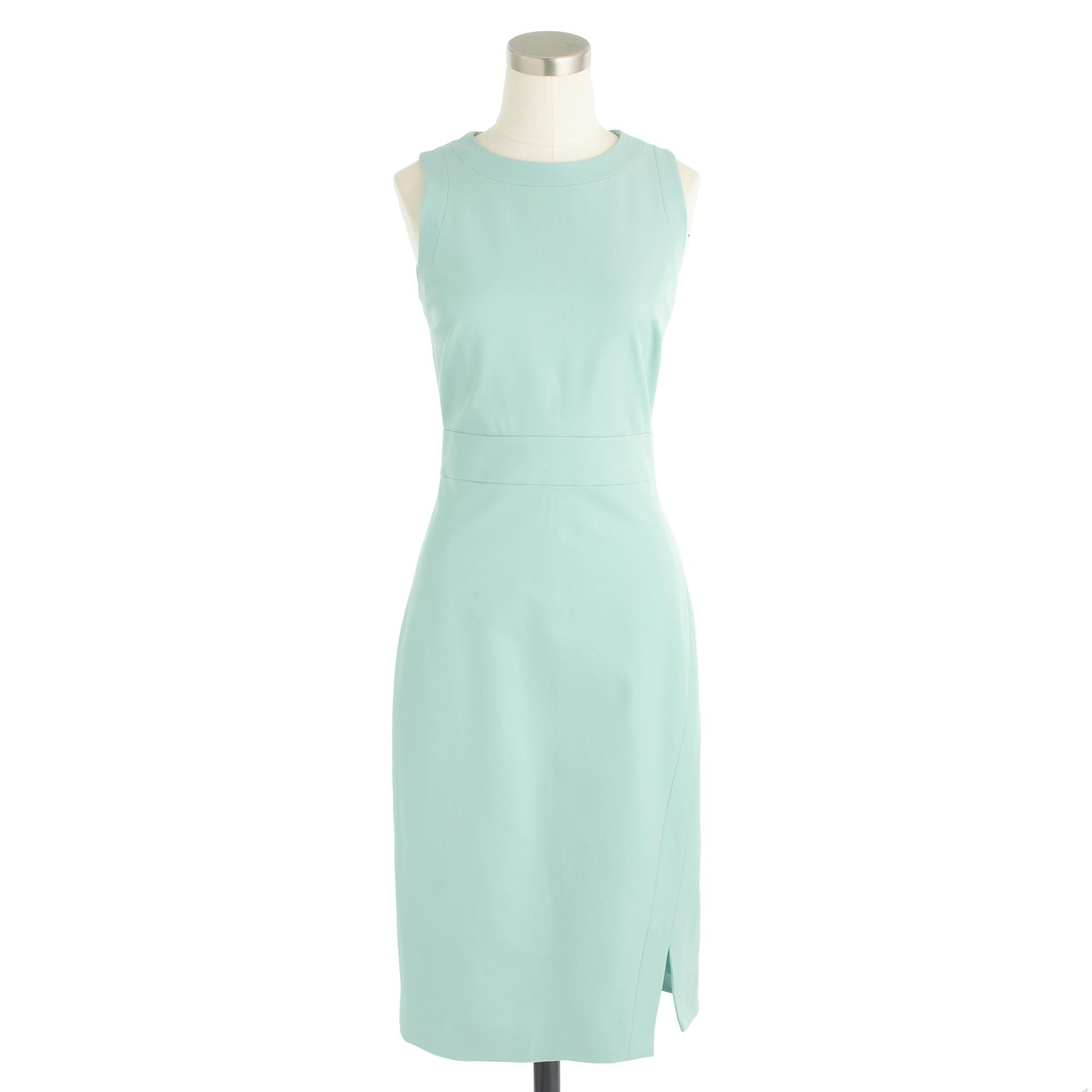 Lyst - J.Crew Petite Sleeveless Side-slit Sheath Dress In Stretch ...