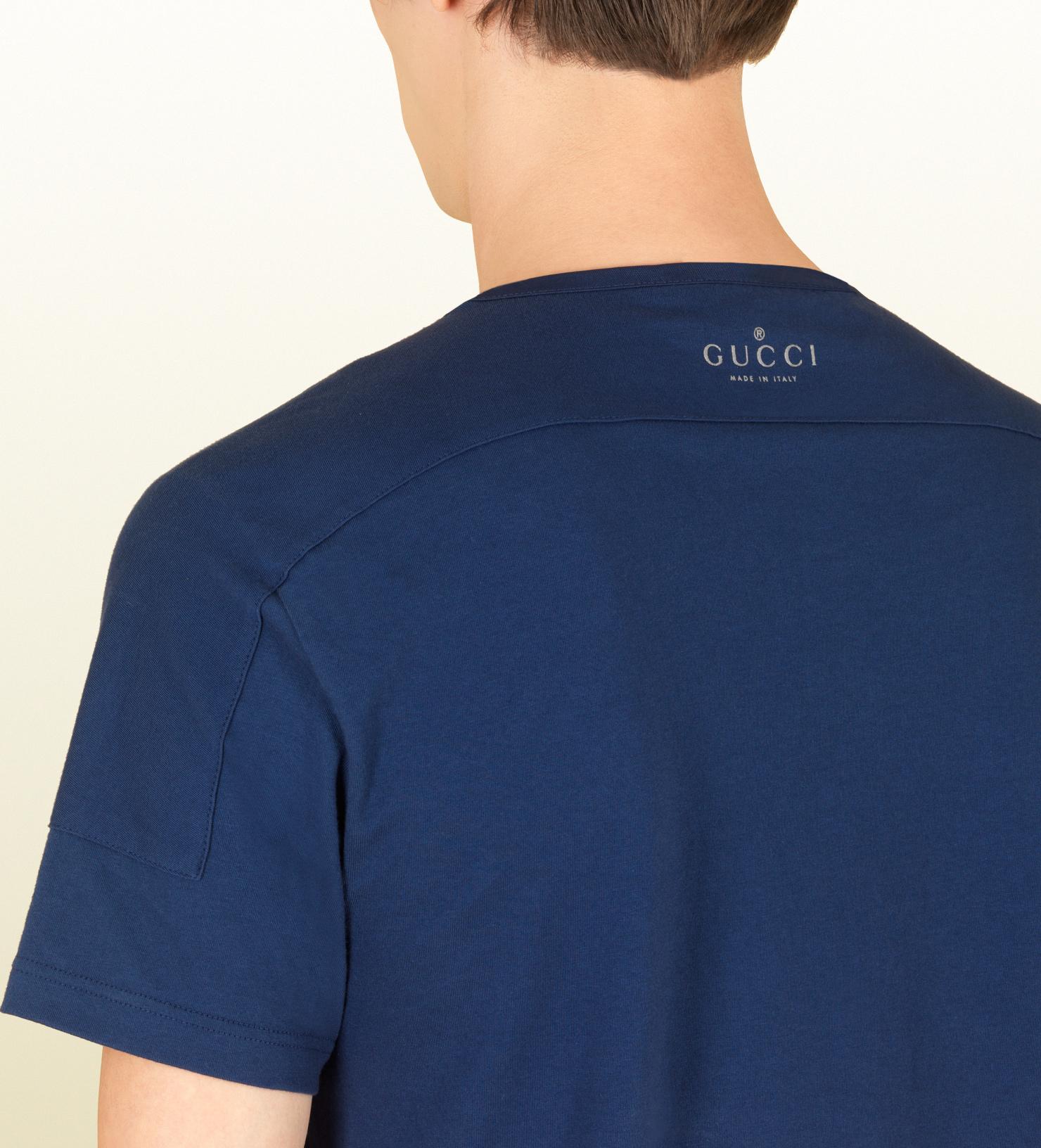 4a31c41b4b3b Gucci Dark Blue Silk and Cotton Jersey Tshirt in Blue for Men - Lyst