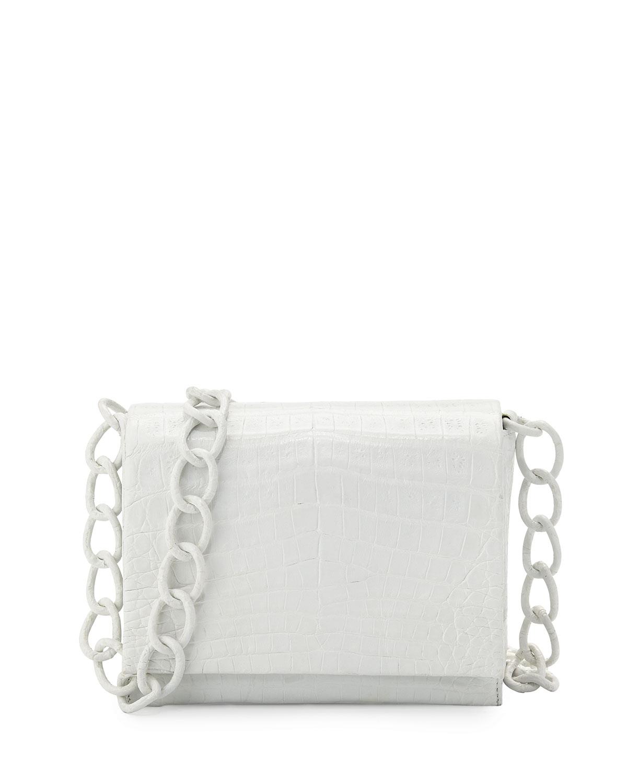 Nancy gonzalez Small Crocodile Chain Crossbody Bag in White   Lyst