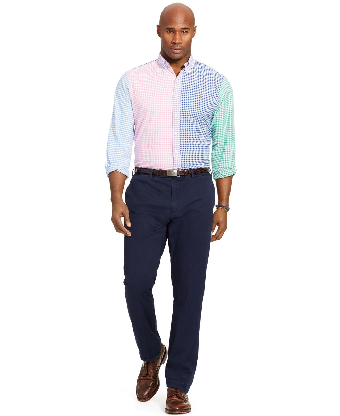 polo ralph big and gingham oxford shirt in