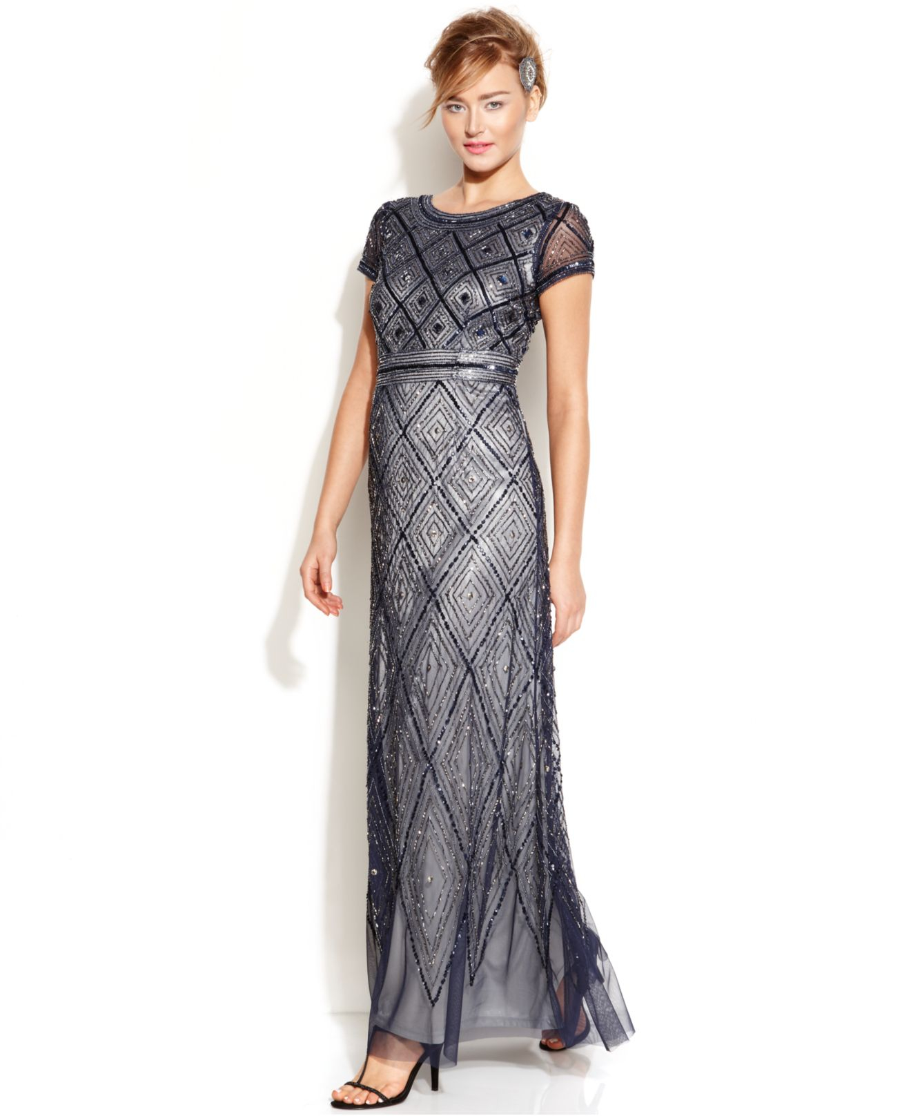 Lyst - Adrianna Papell Cap-Sleeve Beaded Illusion Gown in Blue