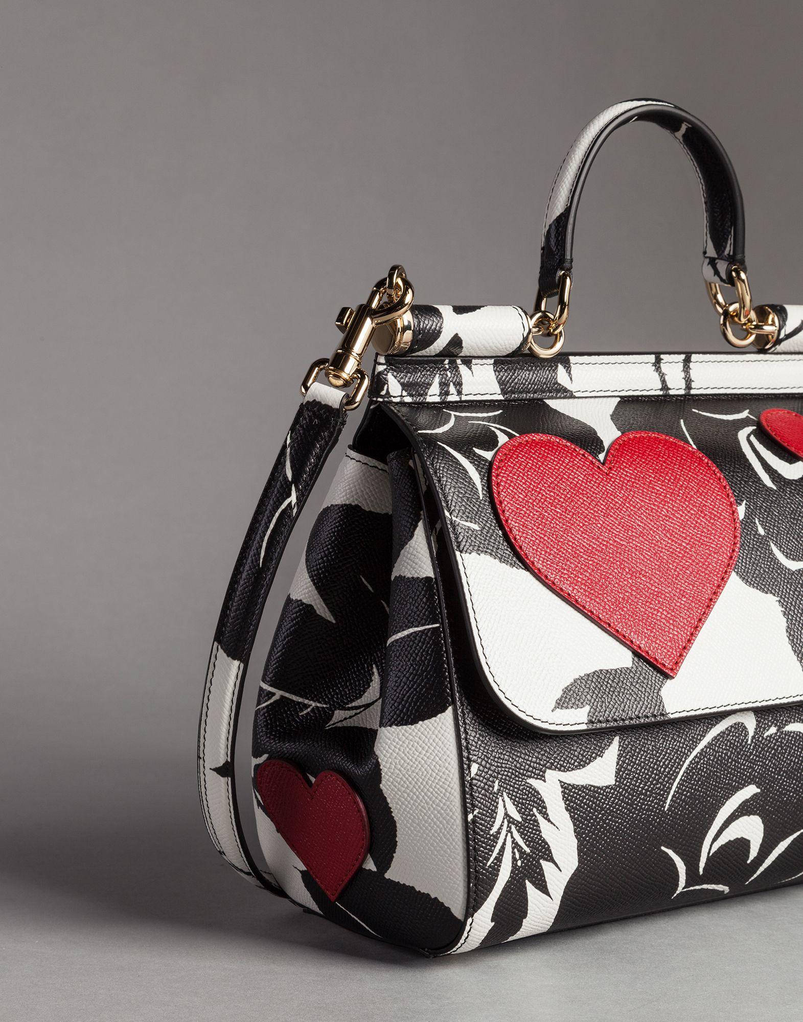 bf35922003 Lyst - Dolce   Gabbana Heart And Flower Print Medium Calfskin Sicily ...