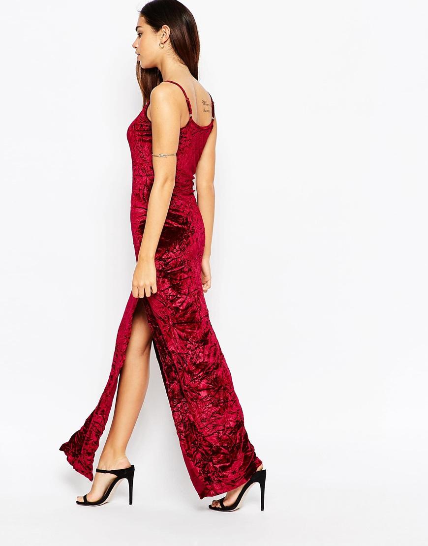 Lyst Asos Velvet Maxi Dress With Splits In Red
