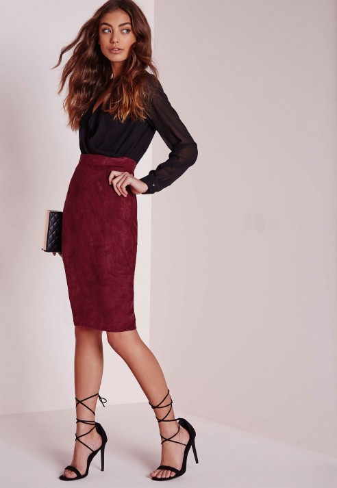 Burgundy Suede Skirt | Jill Dress