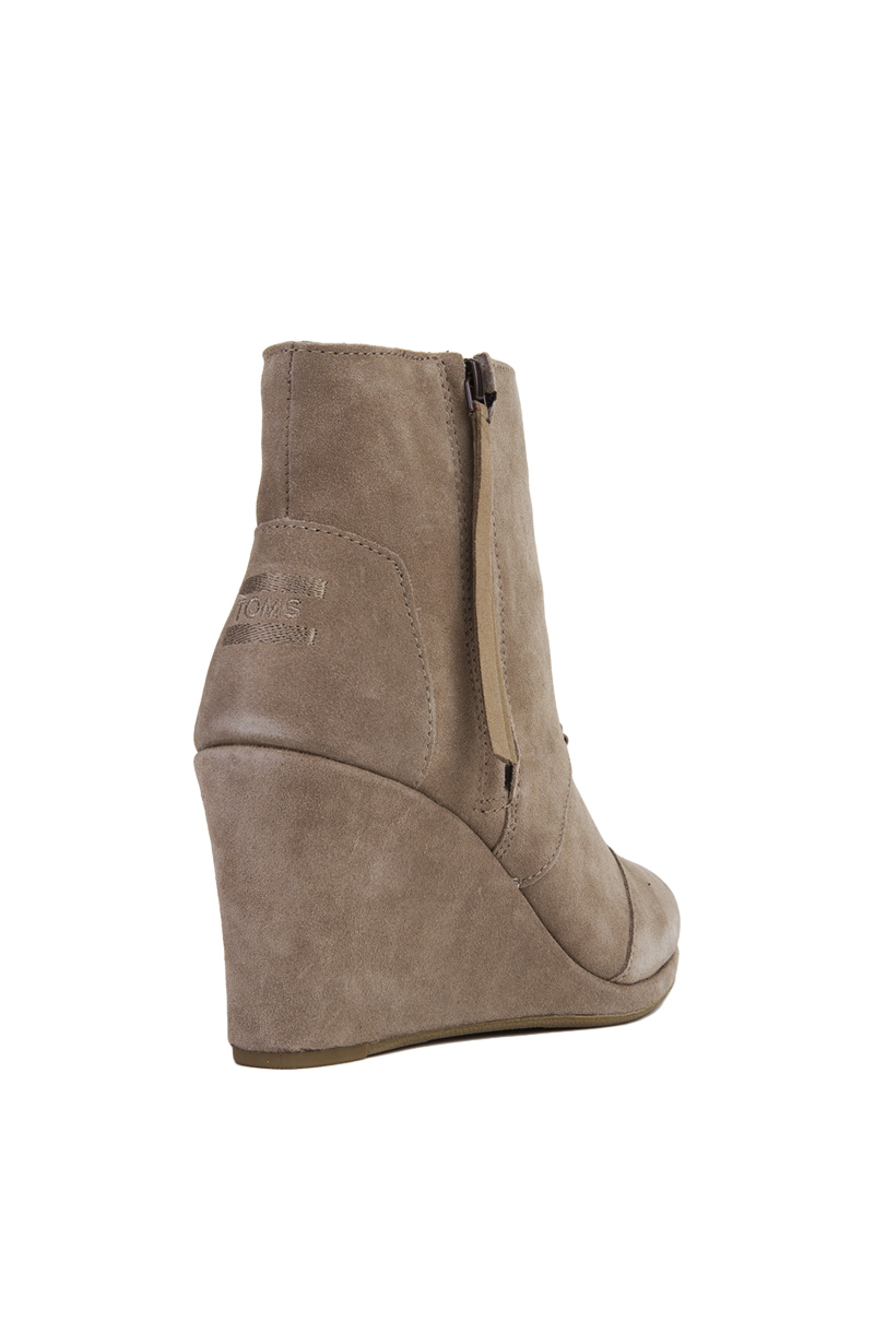 3d8778d60e9 Lyst - TOMS Desert Wedge High Taupe Suede Ankle Booties in Brown