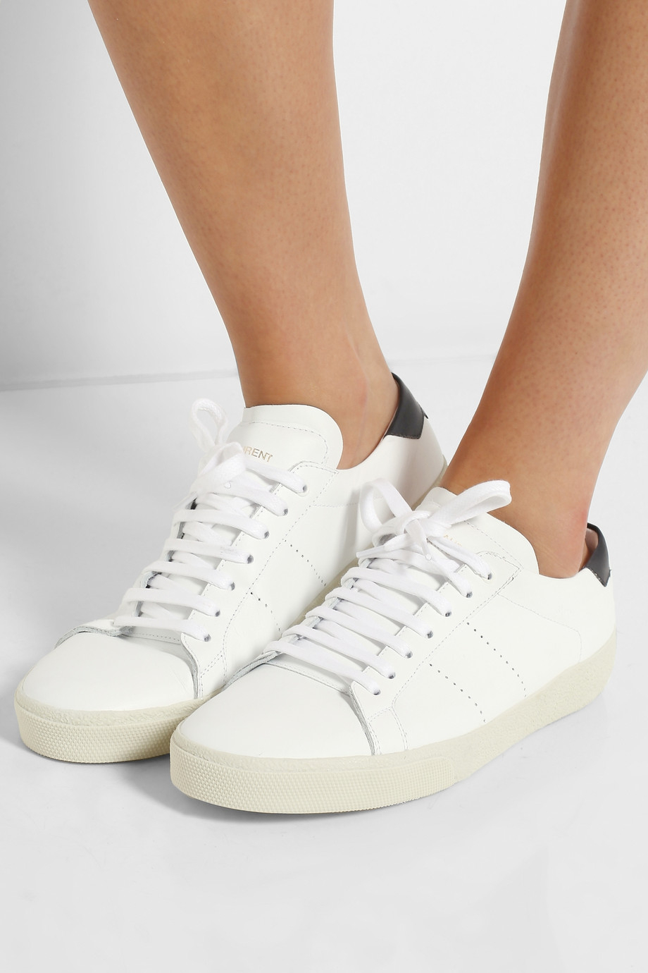 saint laurent court classic leather sneakers in white lyst. Black Bedroom Furniture Sets. Home Design Ideas
