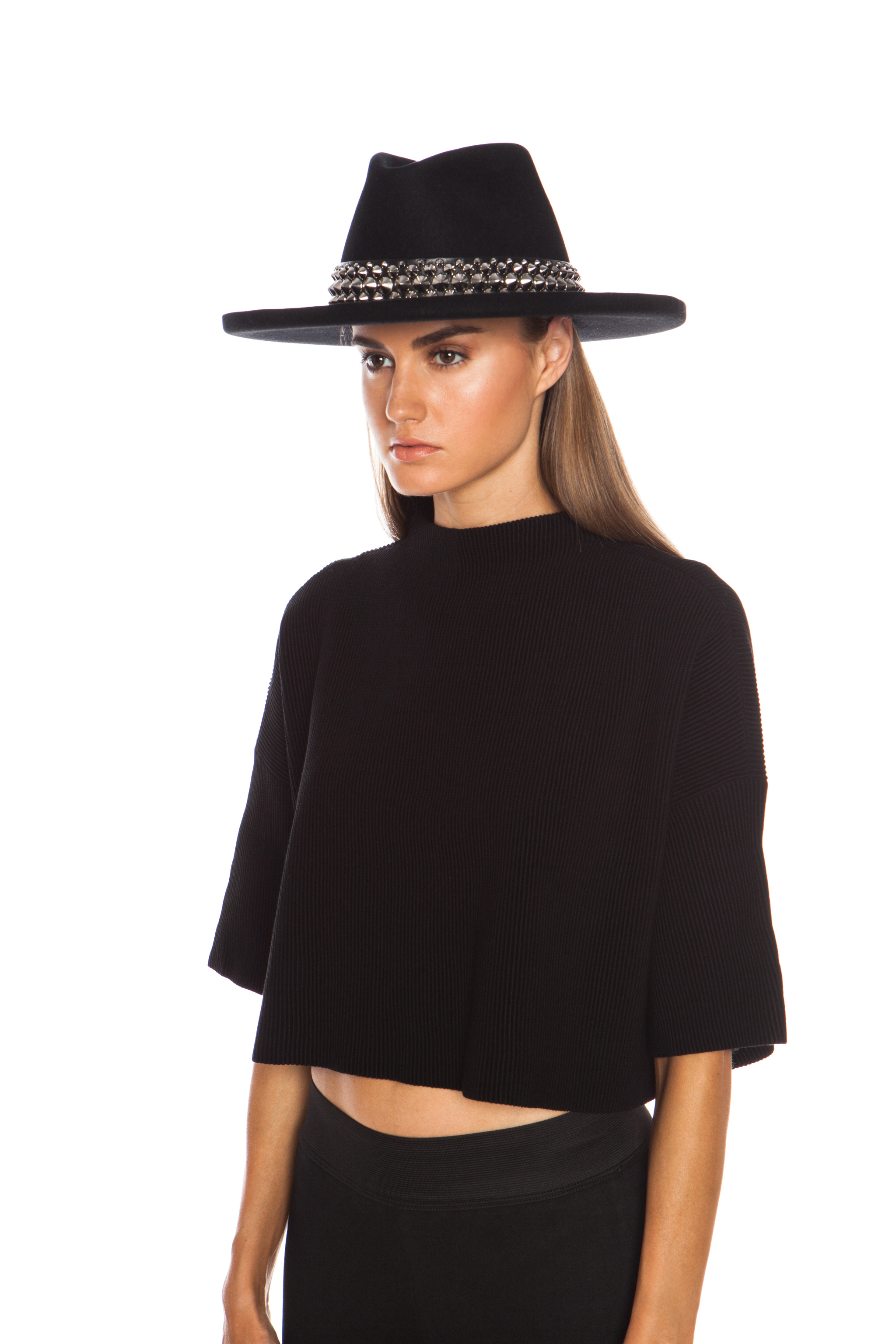 Lyst - Gladys Tamez Millinery The Johnny Hat with Studded Band in Black 006e6158aee