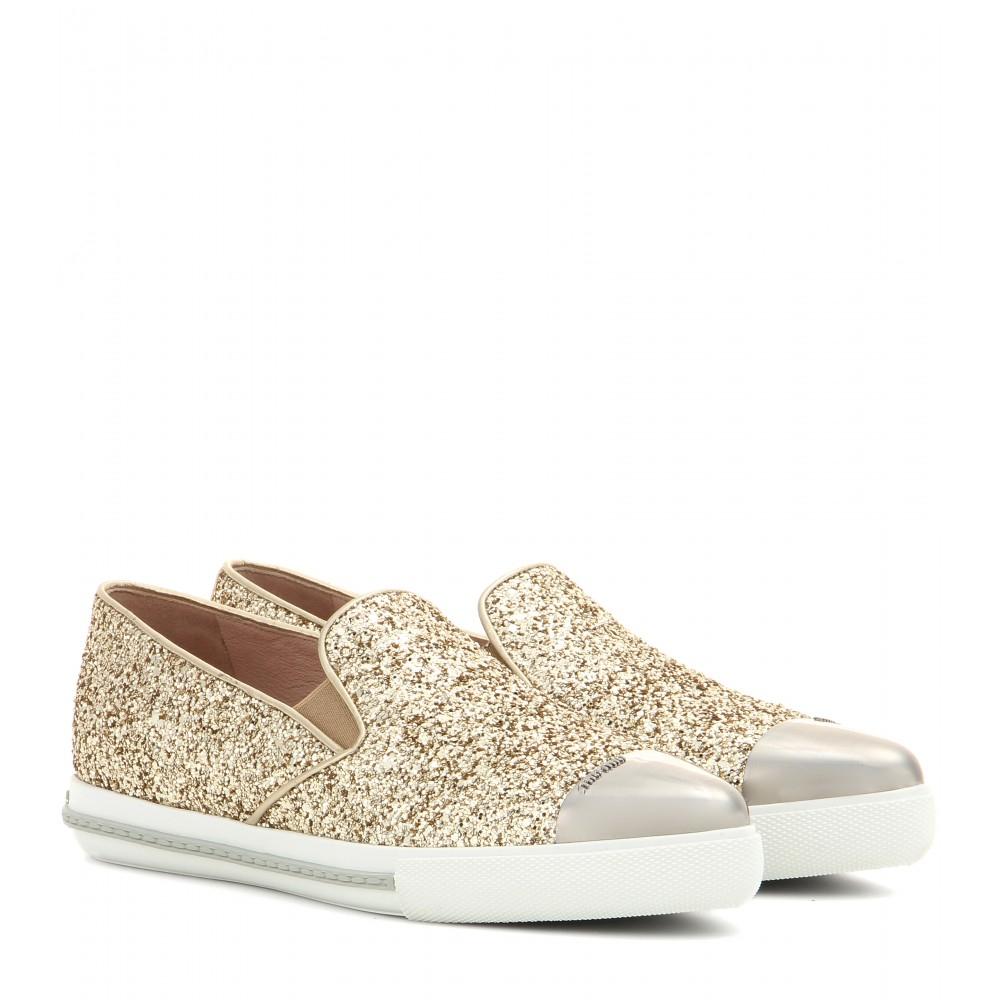 a67bacf0db40 Miu Miu Glitter Slip-On Sneakers in Metallic - Lyst