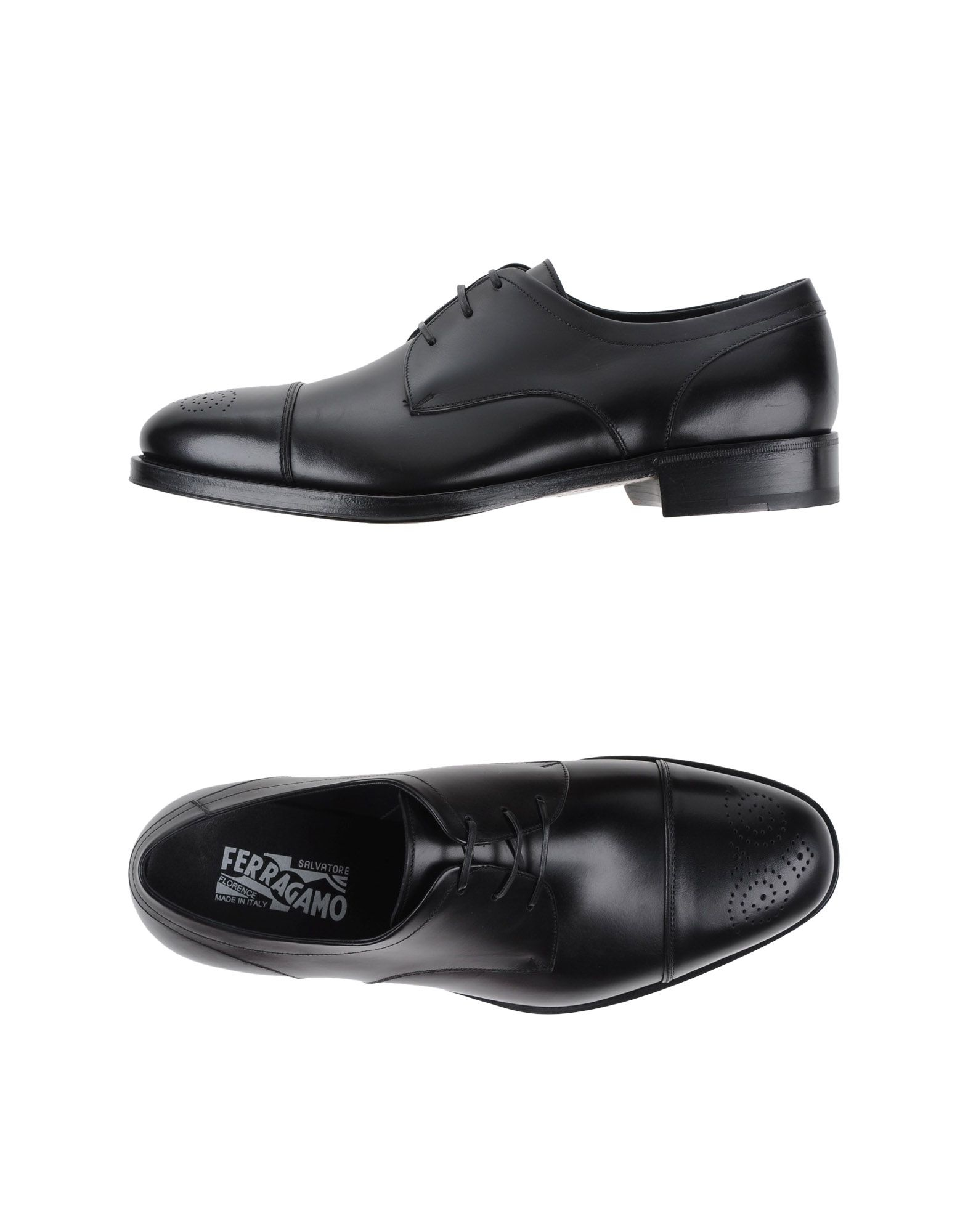 ferragamo lace up shoes in black for lyst