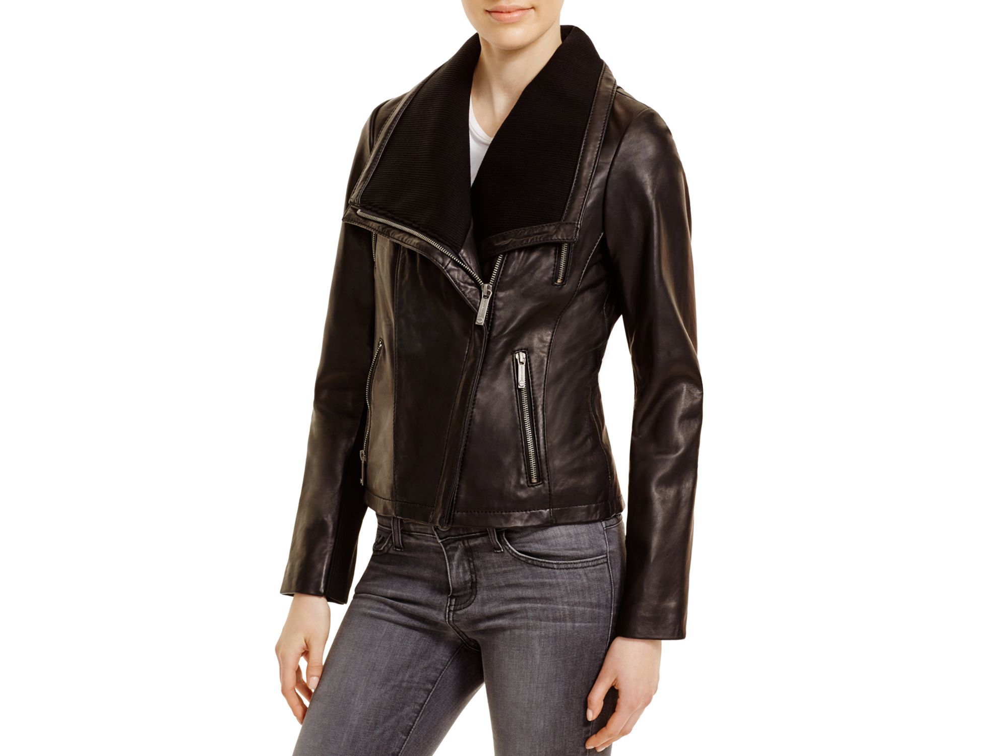 505af03f9778 Lyst - MICHAEL Michael Kors Asymmetric Zip Front Leather Jacket in Black