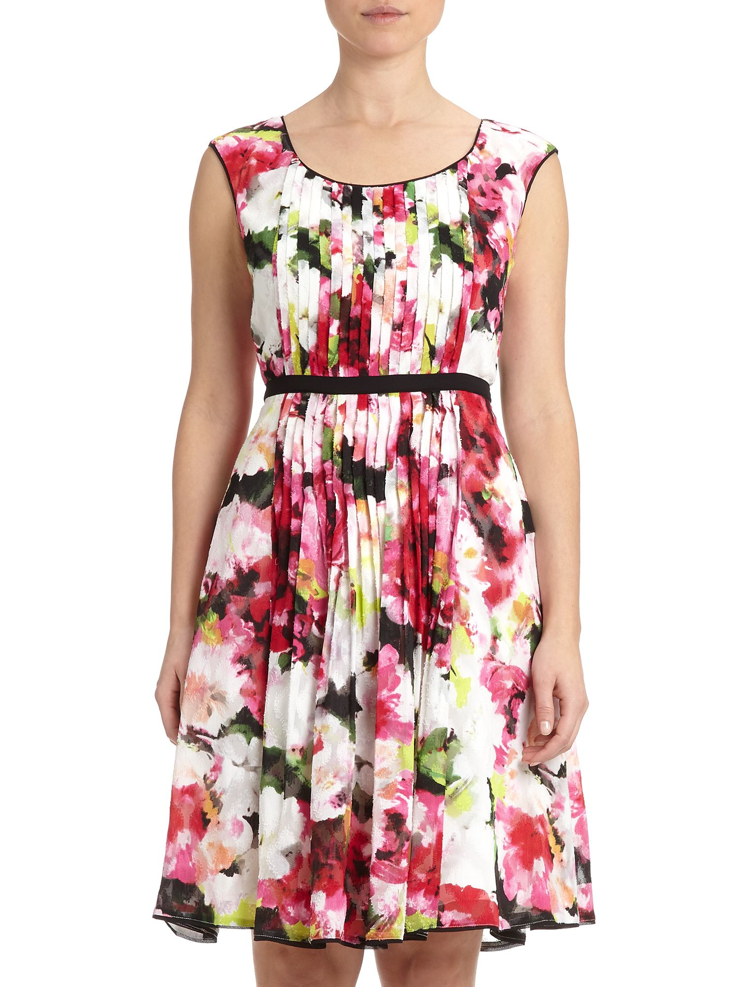 Adrianna Papell Cap Sleeve Floral Fit And Flare Dress In
